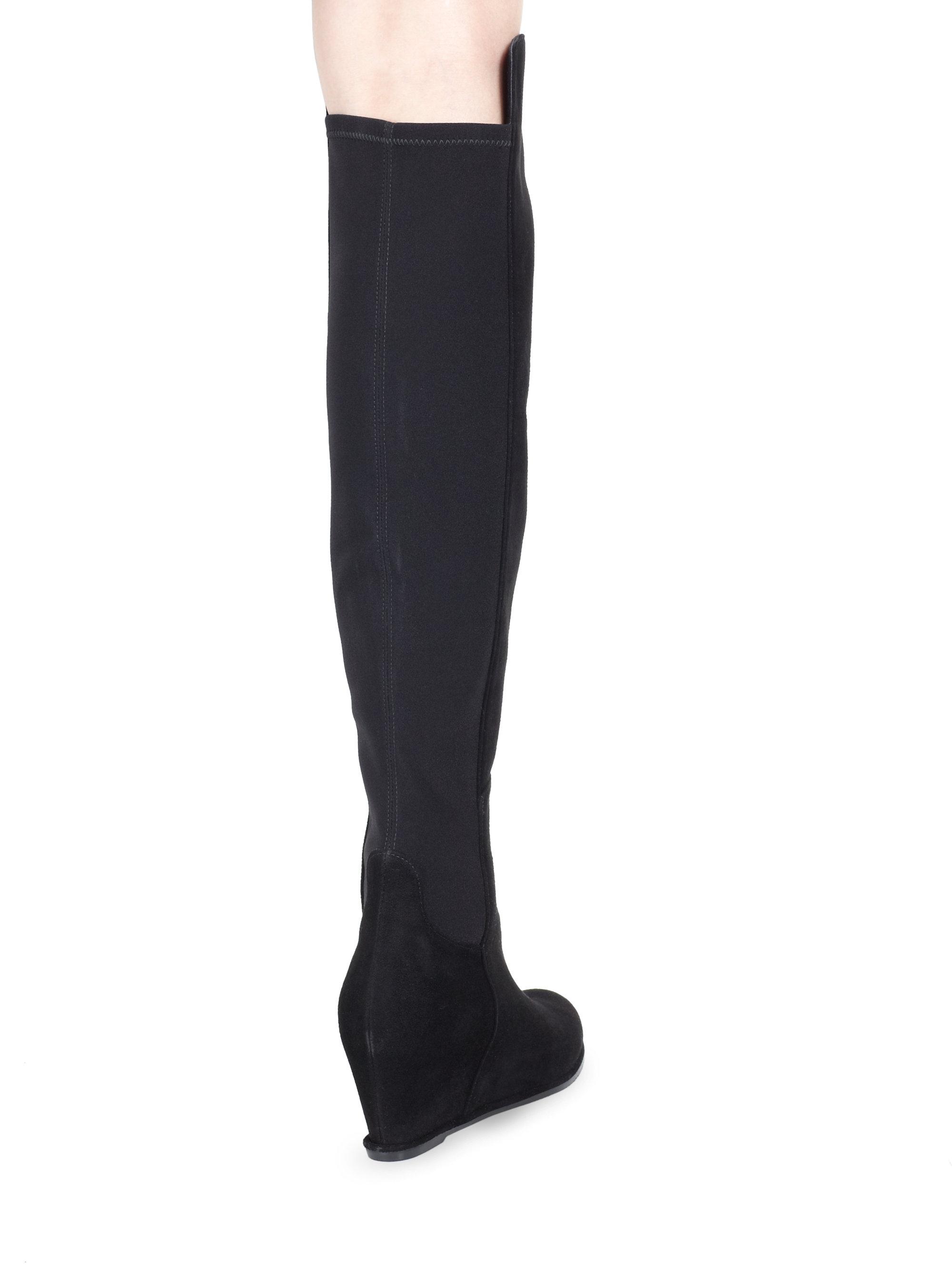 326d39da3e3 Lyst - Stuart Weitzman Suede Over-the-knee Wedge Boots in Black