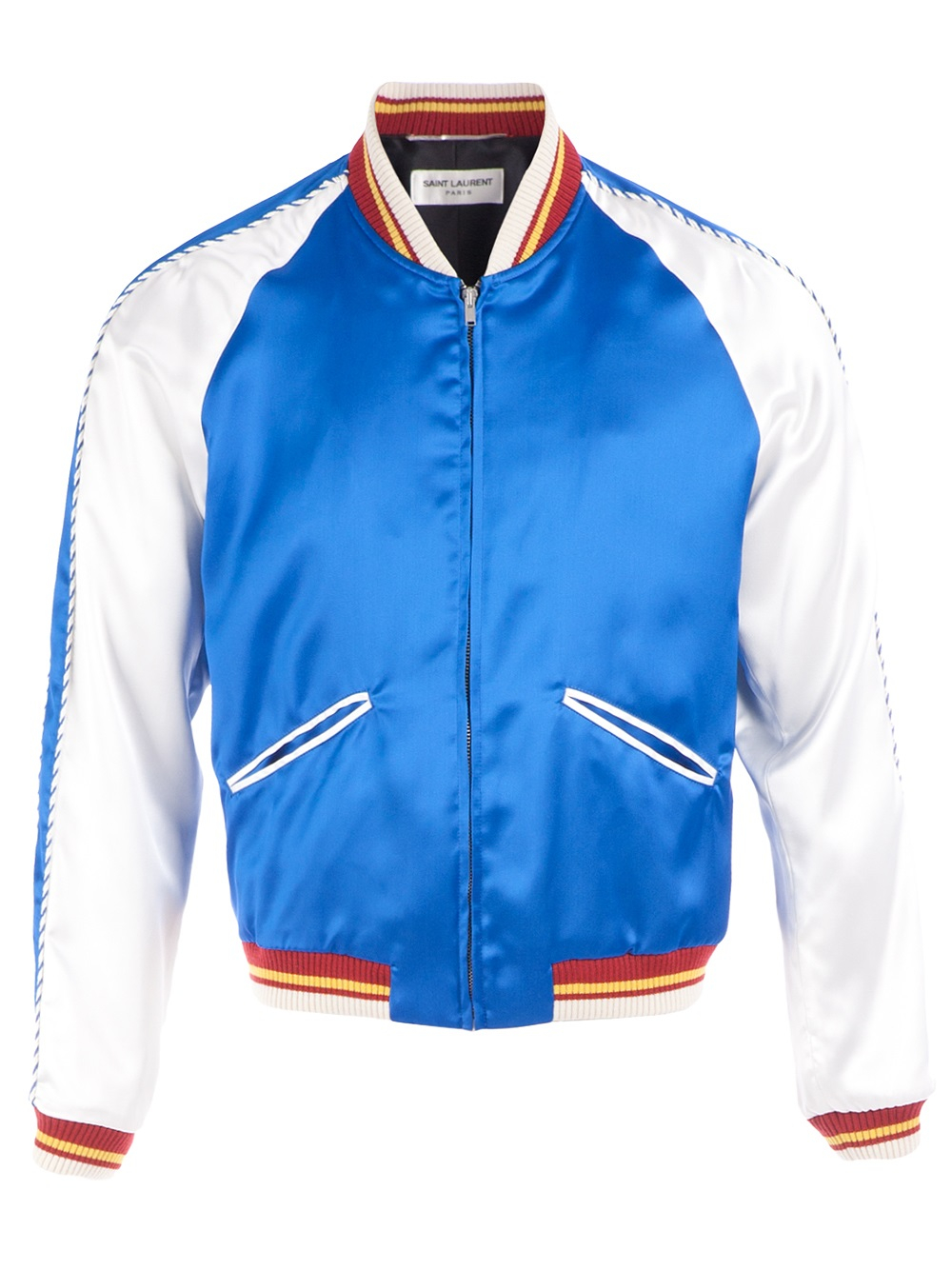 Saint laurent Colour Block Bomber Jacket in Blue for Men | Lyst