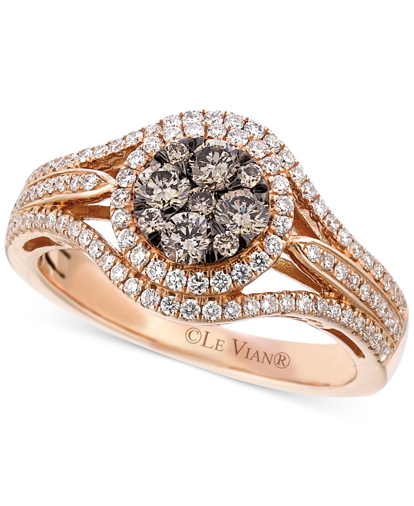 Le vian Brown And White Diamond Ring 7 8 Ct T w In 14k Rose