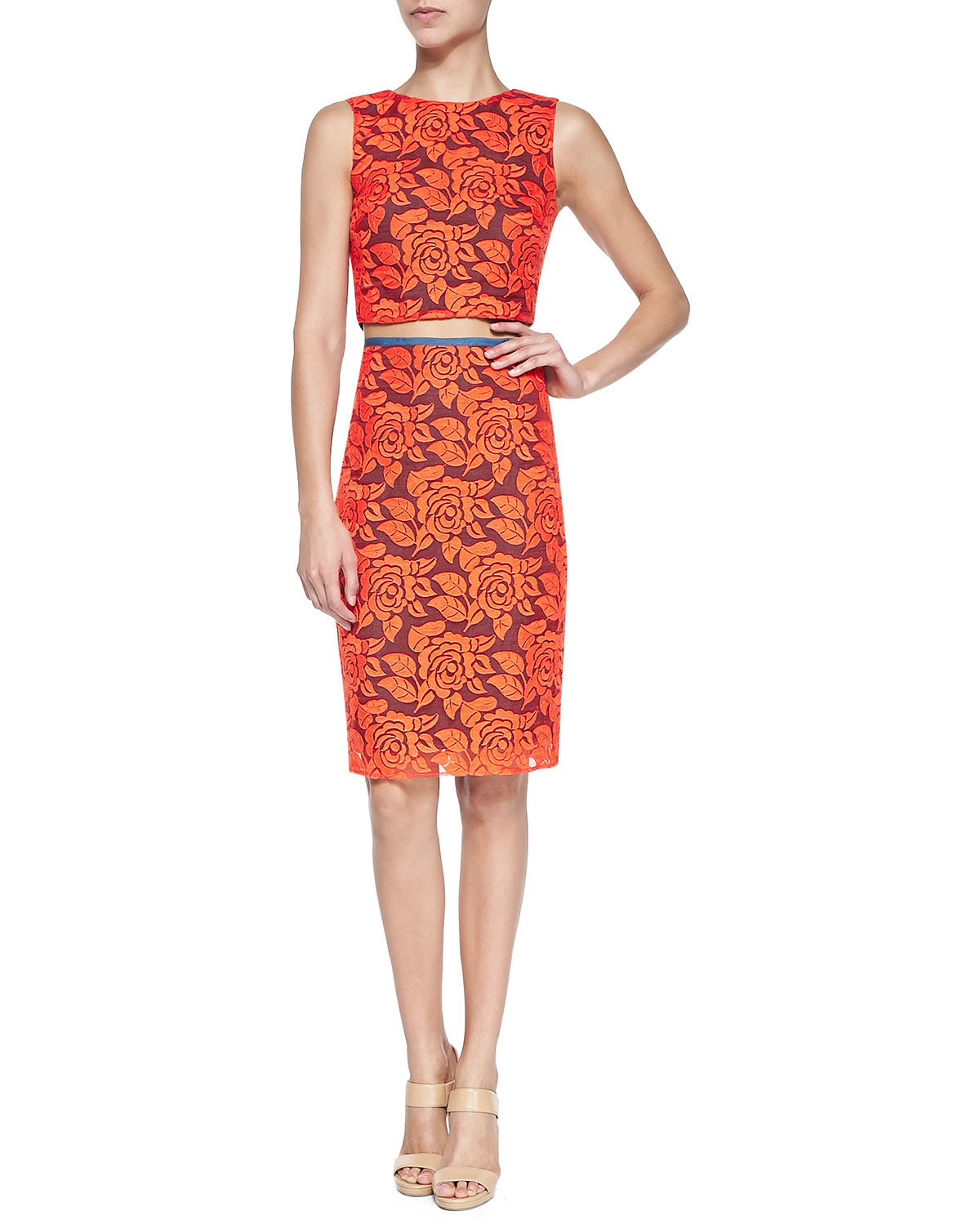 Nicole miller Floral Lace Pencil Skirt in Orange | Lyst