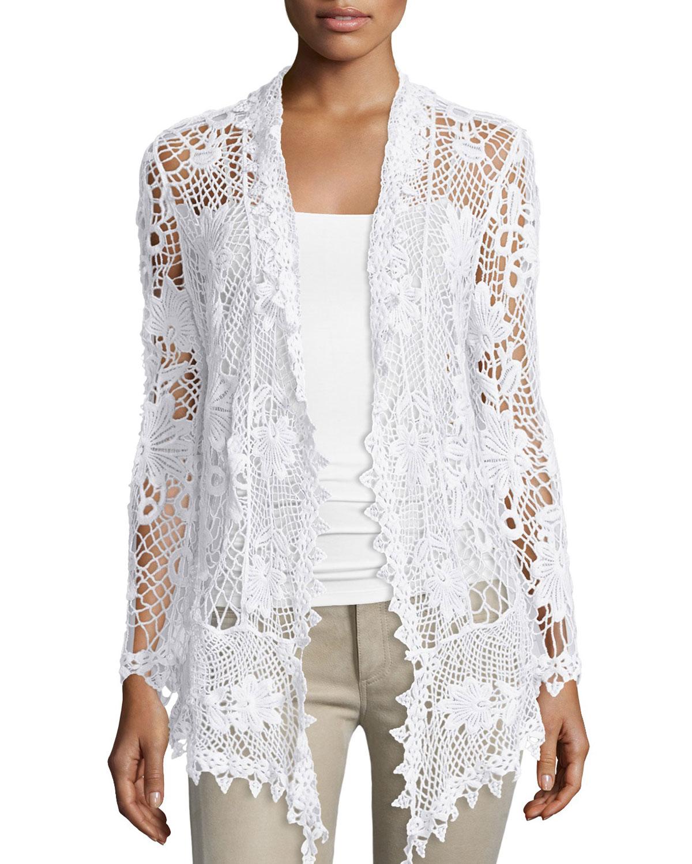 Neiman Marcus Crochet Open Front Cardigan In White Lyst