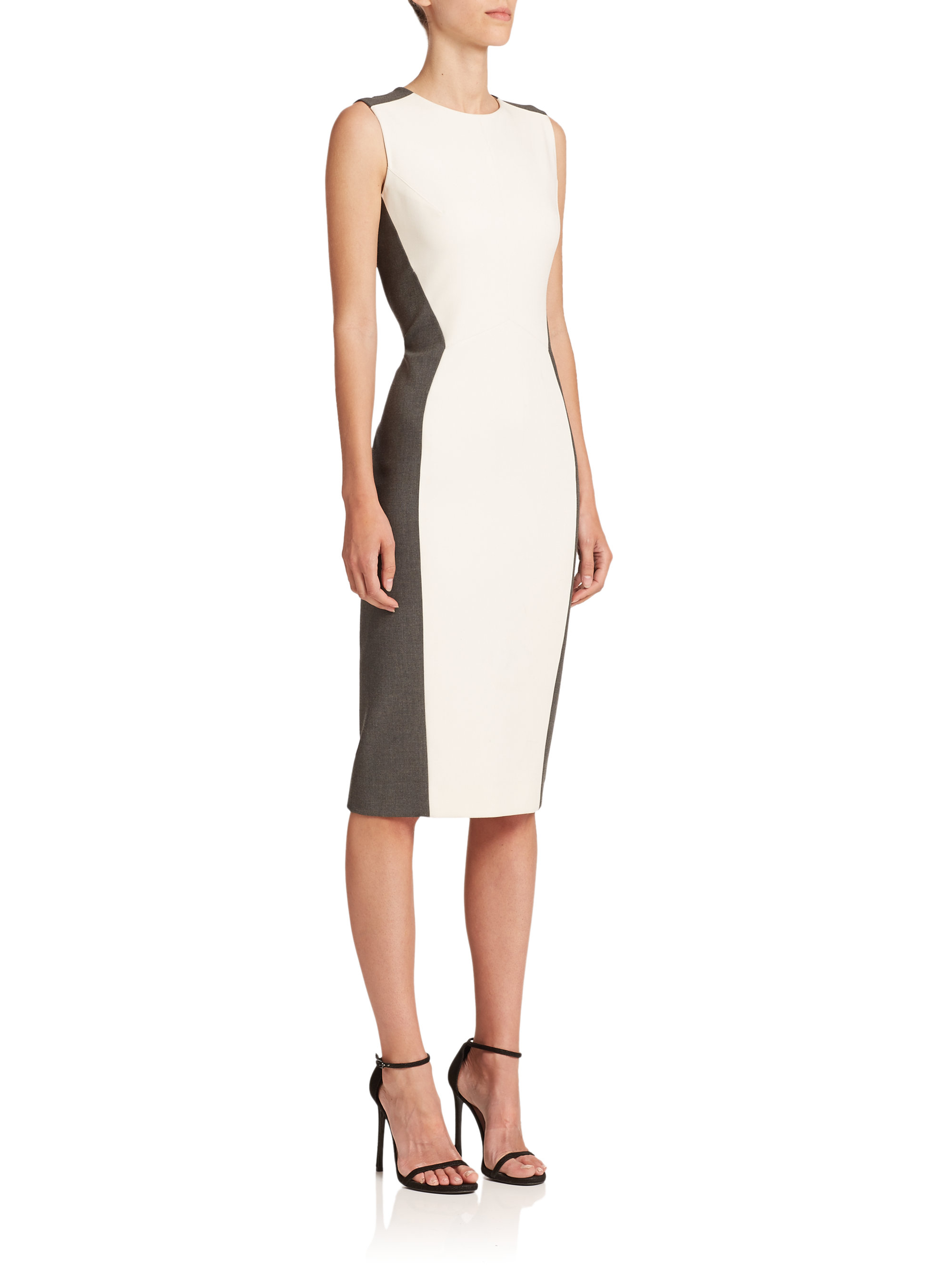 59393e75 Narciso Rodriguez Colorblock Sheath Dress in Gray - Lyst