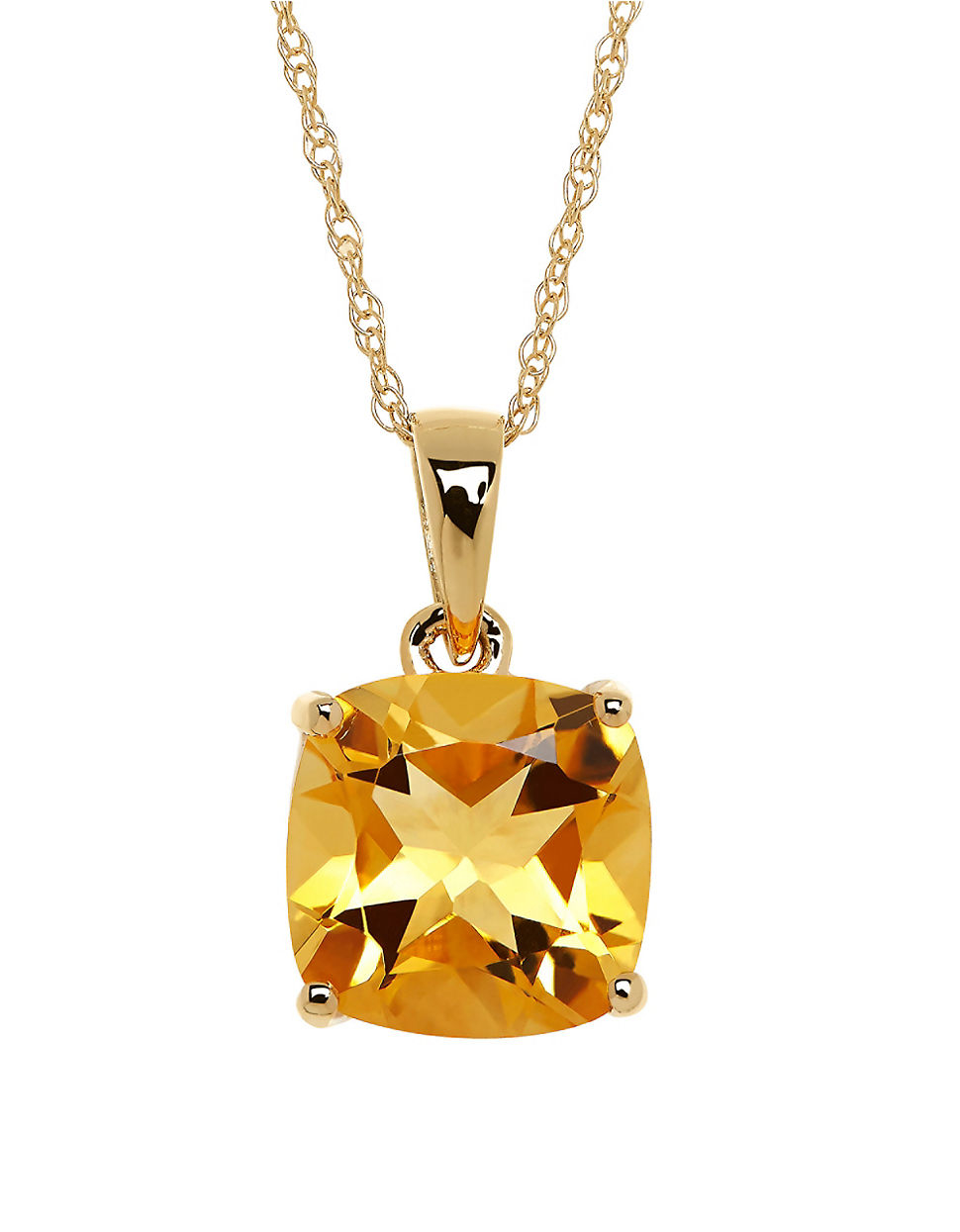 lord citrine and 14k yellow gold pendant necklace