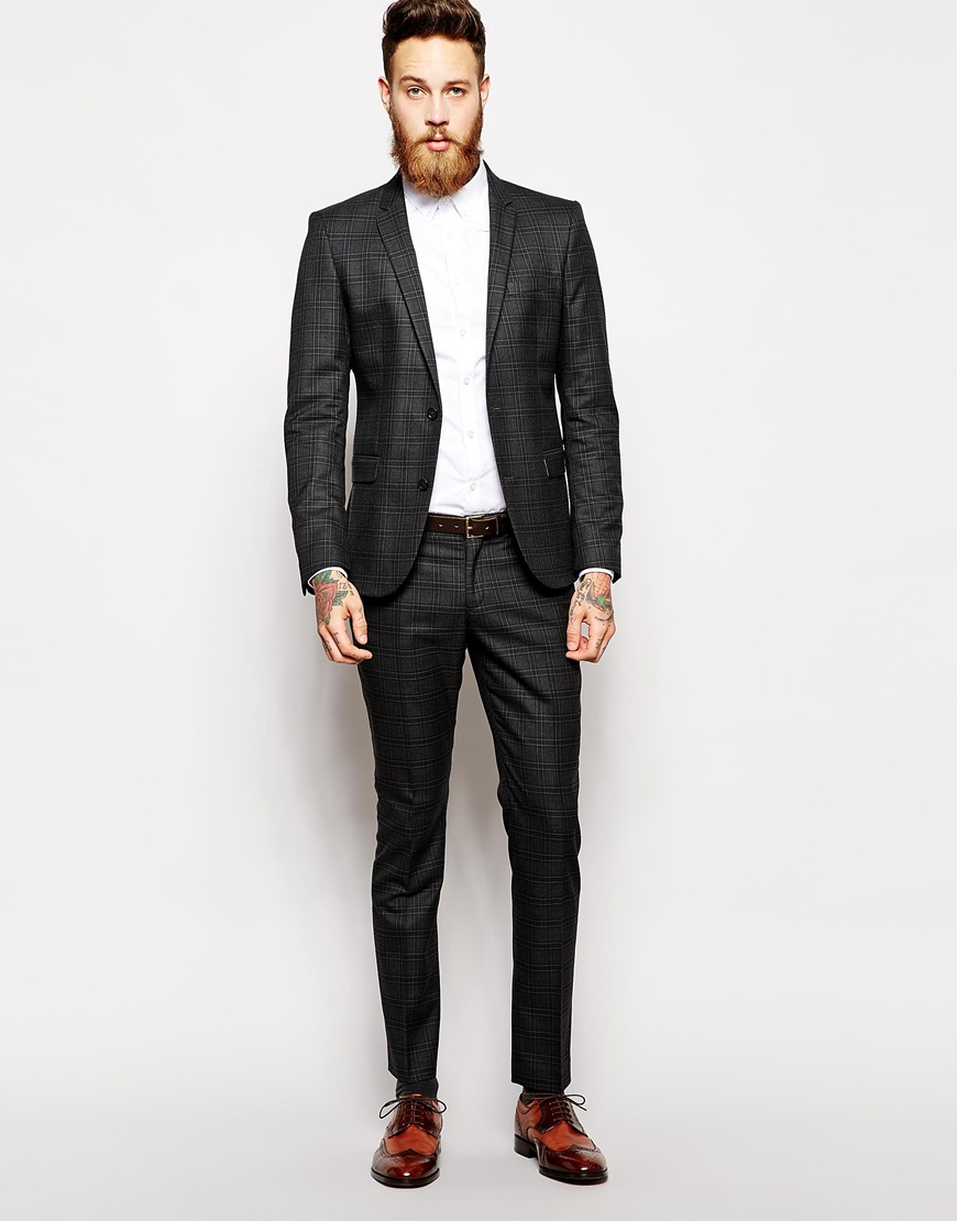 Selected Selected Tonal Check Suit Trousers In Skinny Fit in Black
