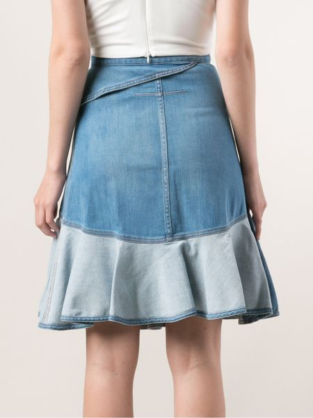 givenchy denim ruffle skirt in blue lyst
