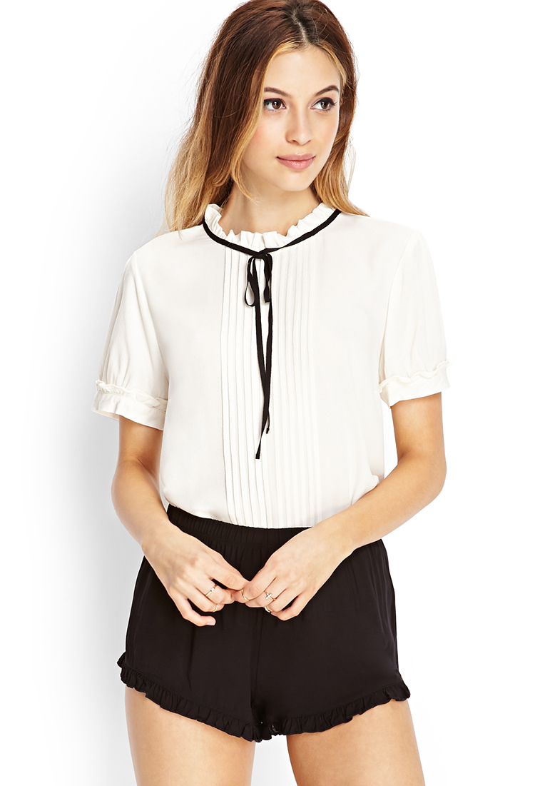 0e706fa719d29 Lyst - Forever 21 Micro Pleated Blouse in Black