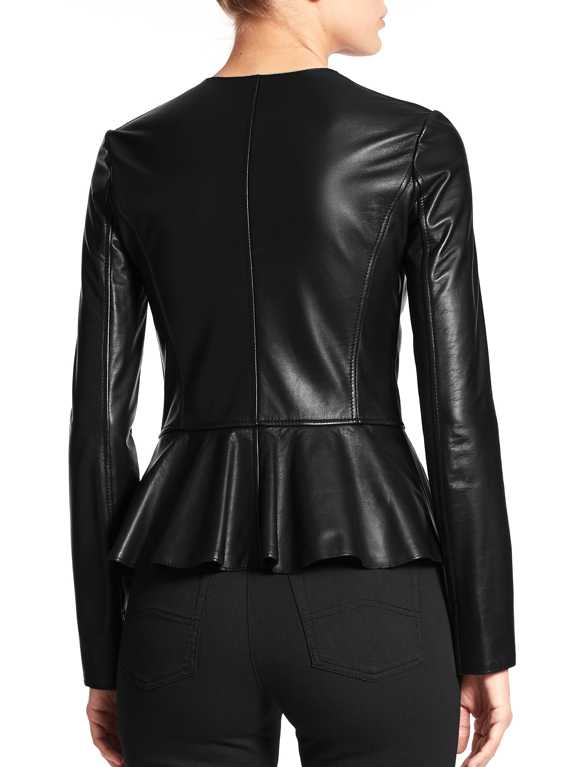 Armani Leather Peplum Jacket in Black