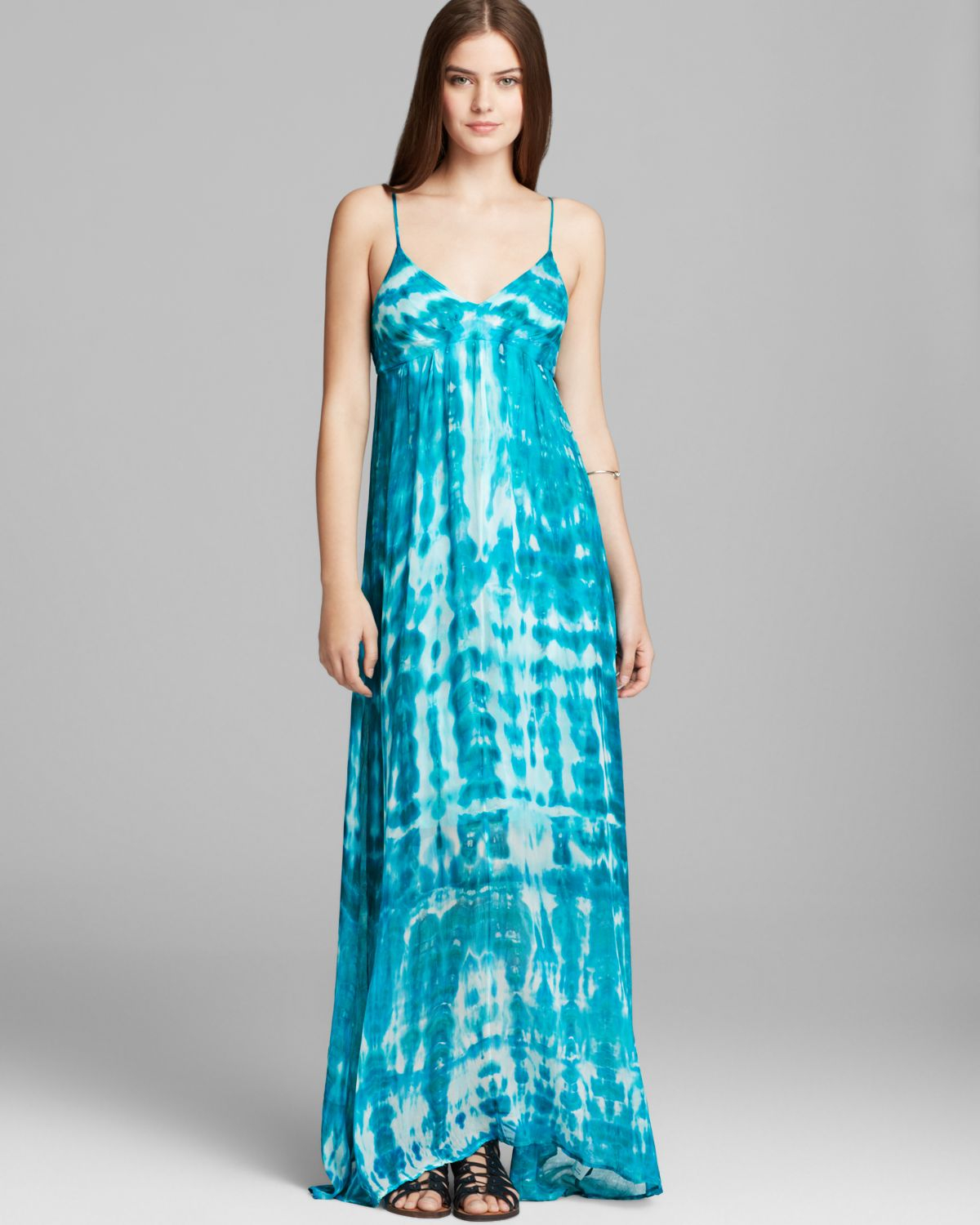 Red haute maxi dress empire tie dye in blue teal lyst for To have and to haute dress