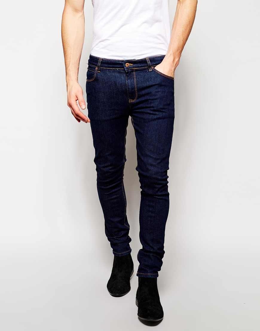 asos super skinny jeans in indigo in blue for men indigo. Black Bedroom Furniture Sets. Home Design Ideas