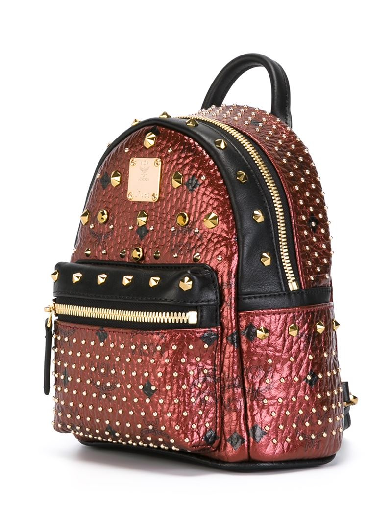 mcm x mini stark backpack in red lyst