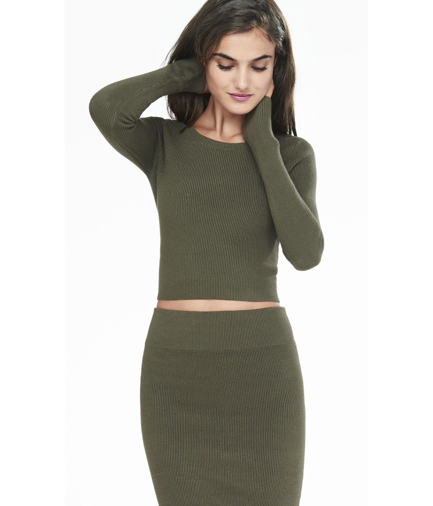 Express Long Sleeve Ribbed Cropped Sweater in Green | Lyst