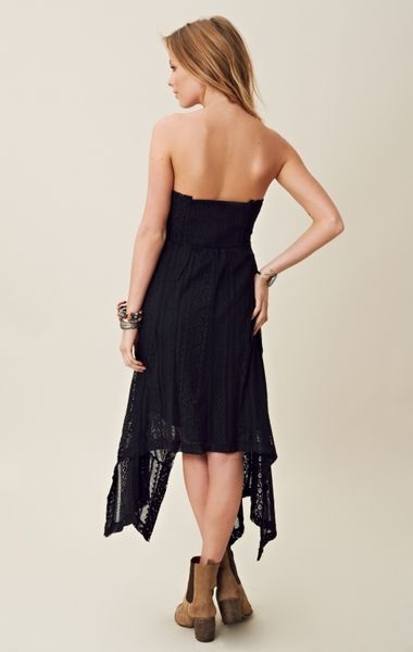 Free People Lace Hi Low Strapless Dress In Black Lyst