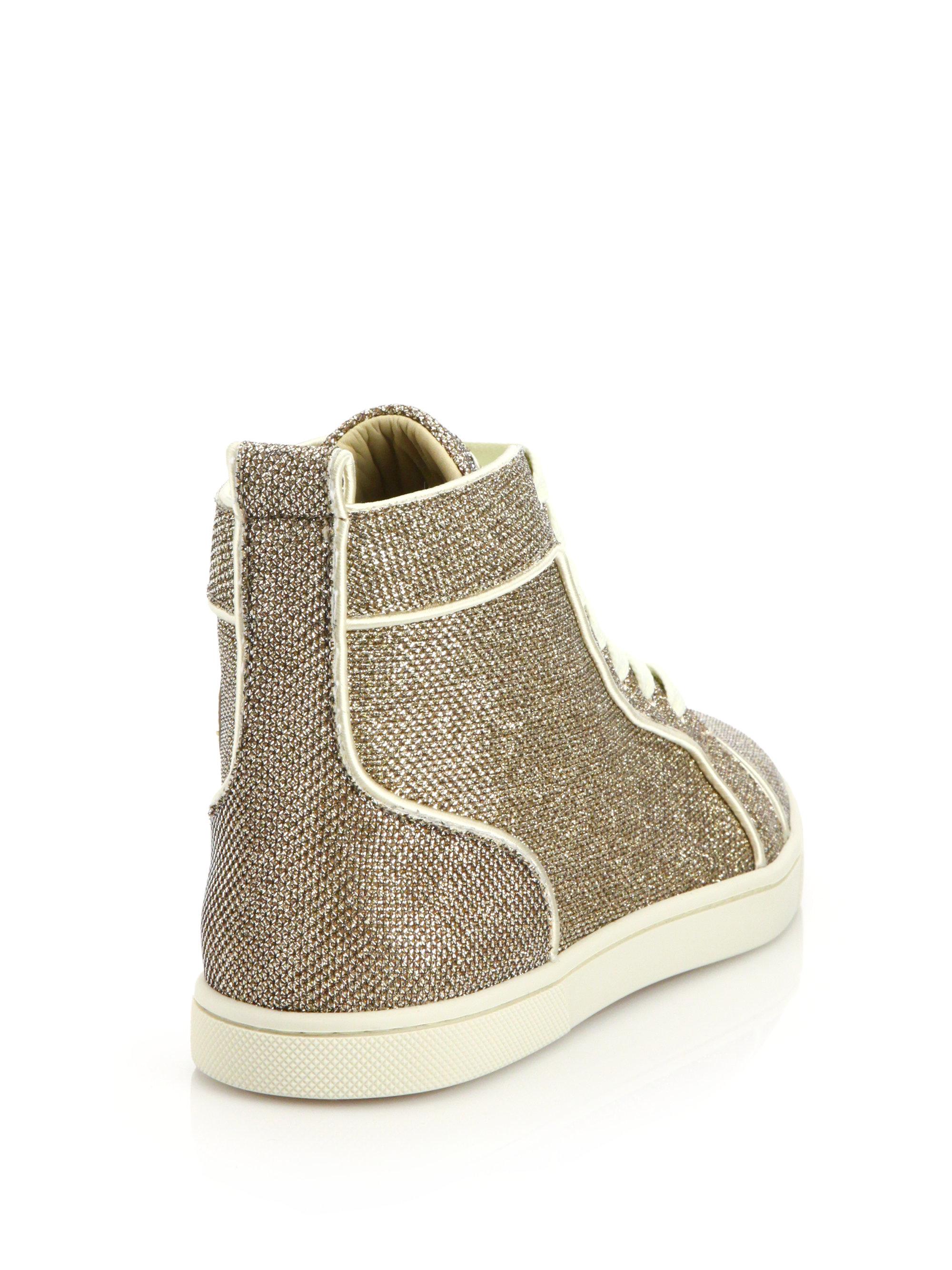 Christian louboutin Glitter Hi-top Sneakers in Gold | Lyst