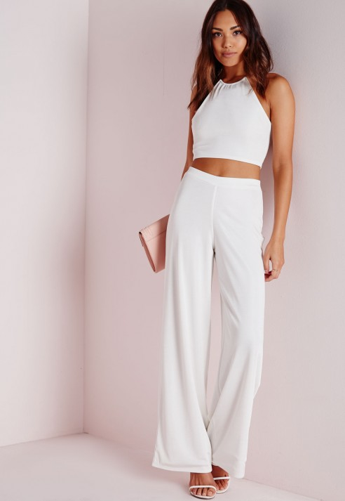 Missguided Wide Leg Ribbed Trousers White in White
