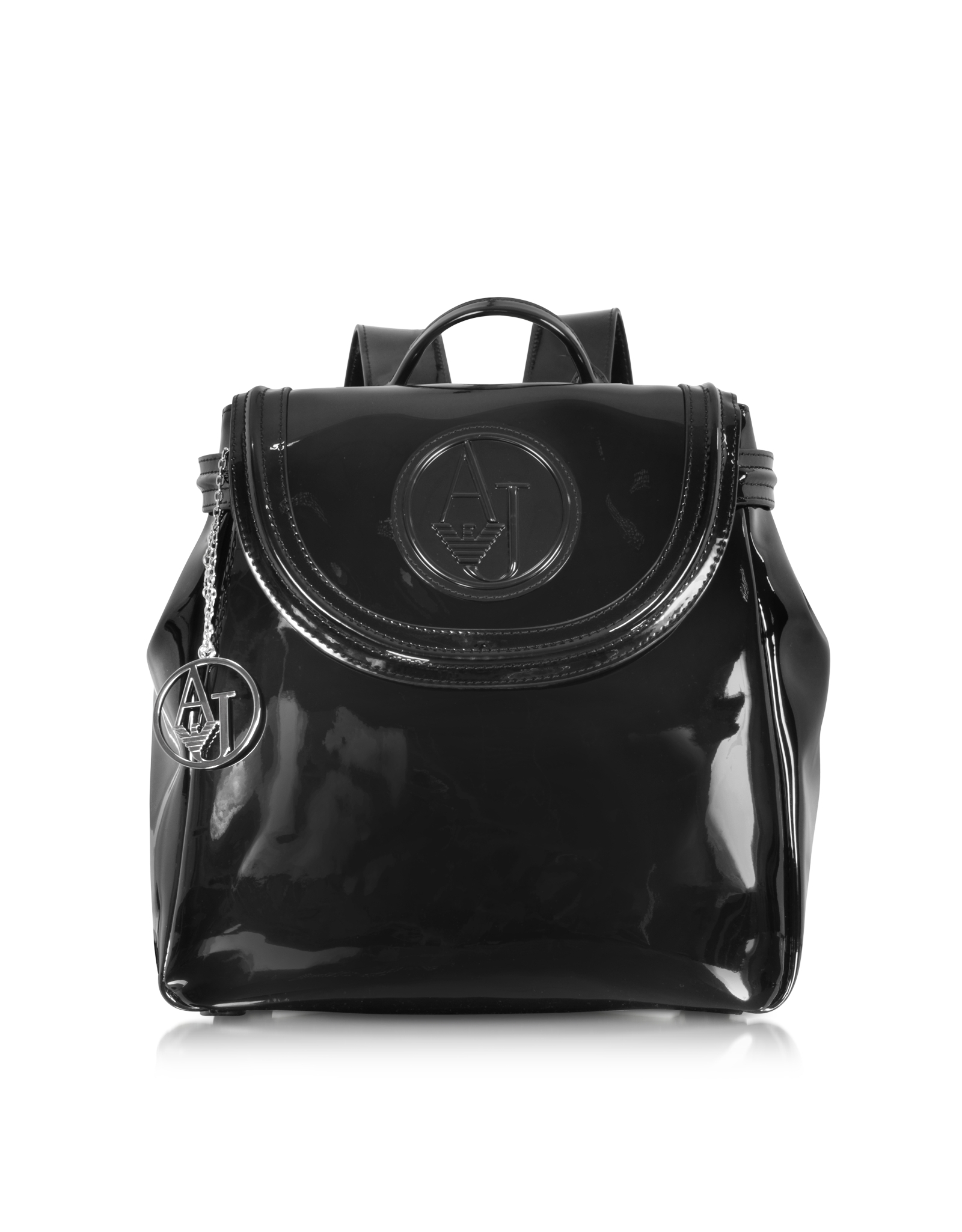 21cd8386407 Lyst - Armani Jeans Black Patent Eco Leather Backpack in Black