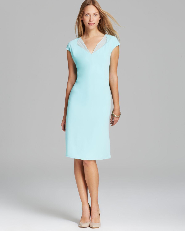 Lyst Calvin Klein V Neck Dress With Chiffon In Blue