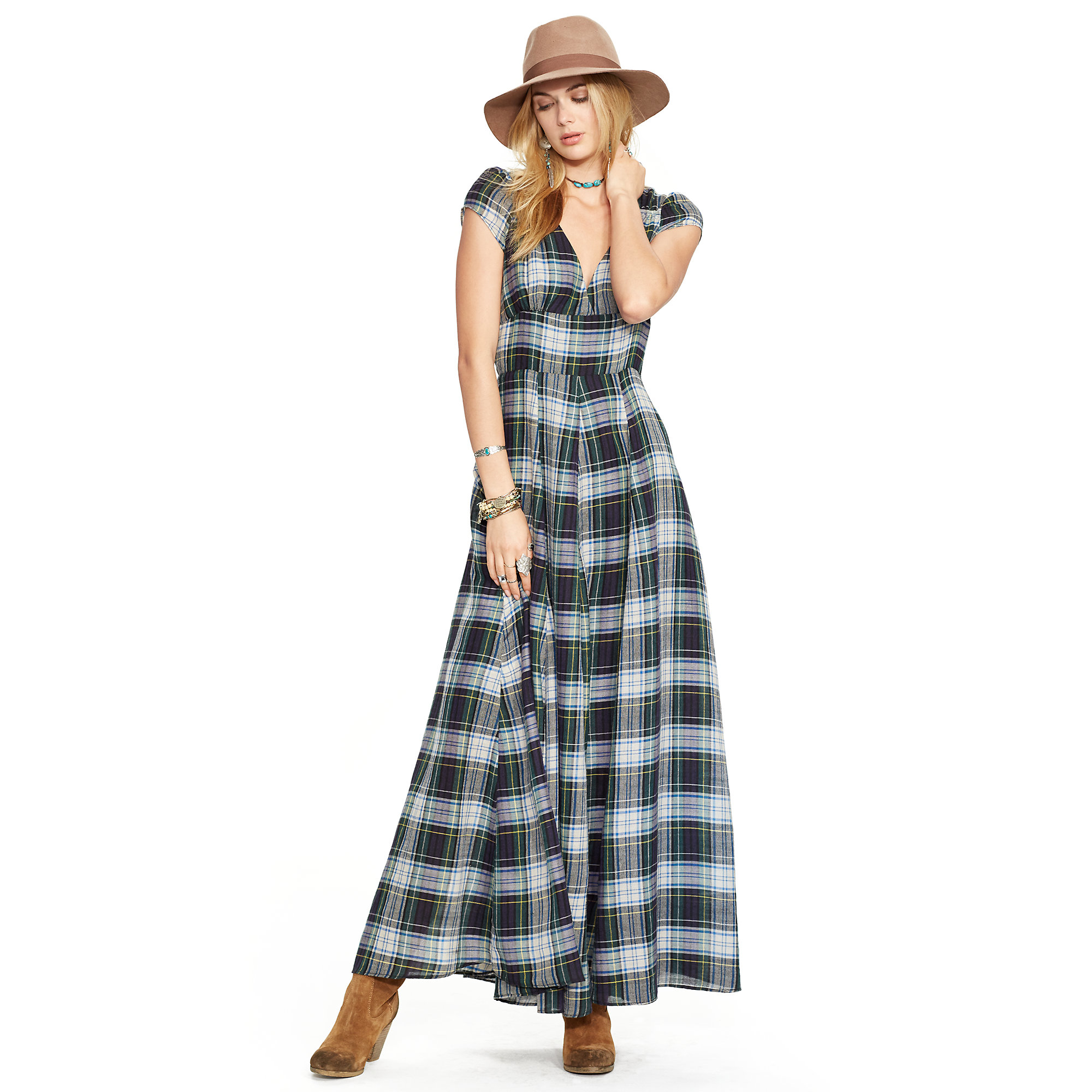 Denim & supply ralph lauren Plaid Wool-cotton Maxidress in Blue | Lyst