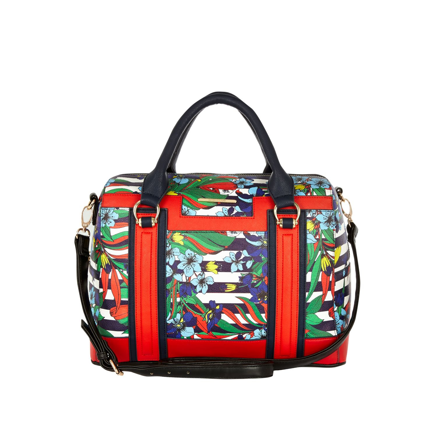 River Island Navy Floral Stripe Print Bowler Bag In Blue (navy) | Lyst