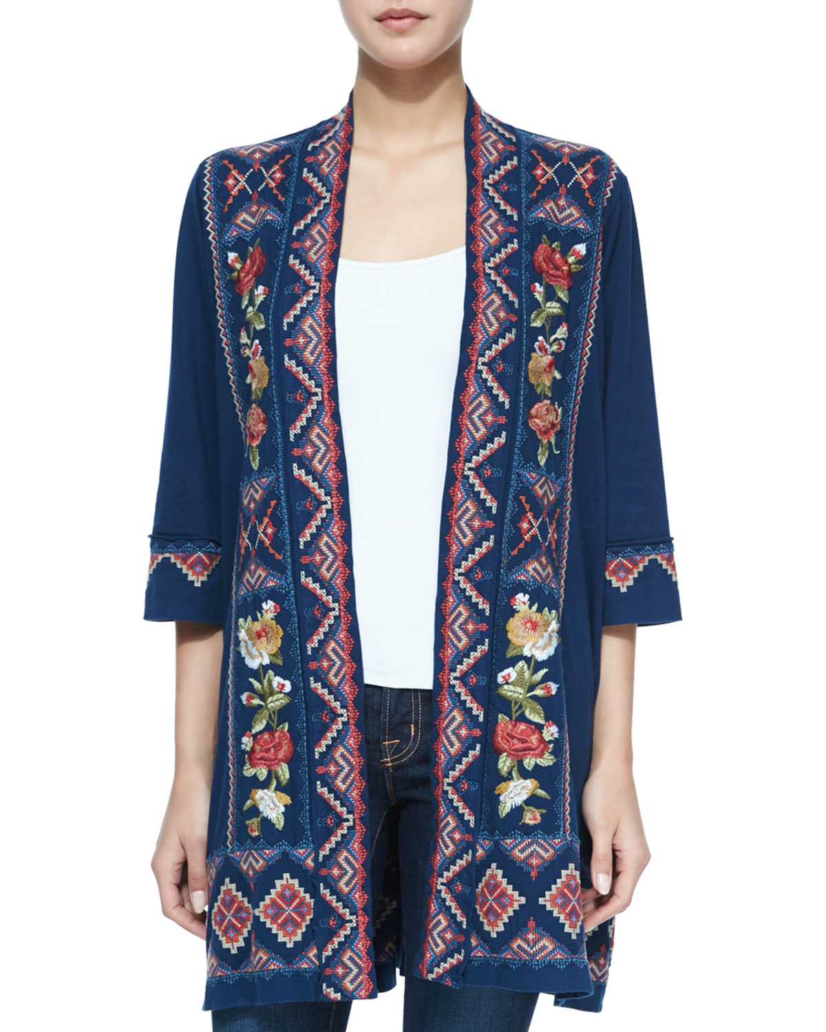 Johnny was Carolina Embroidered Duster Cardigan in Blue | Lyst