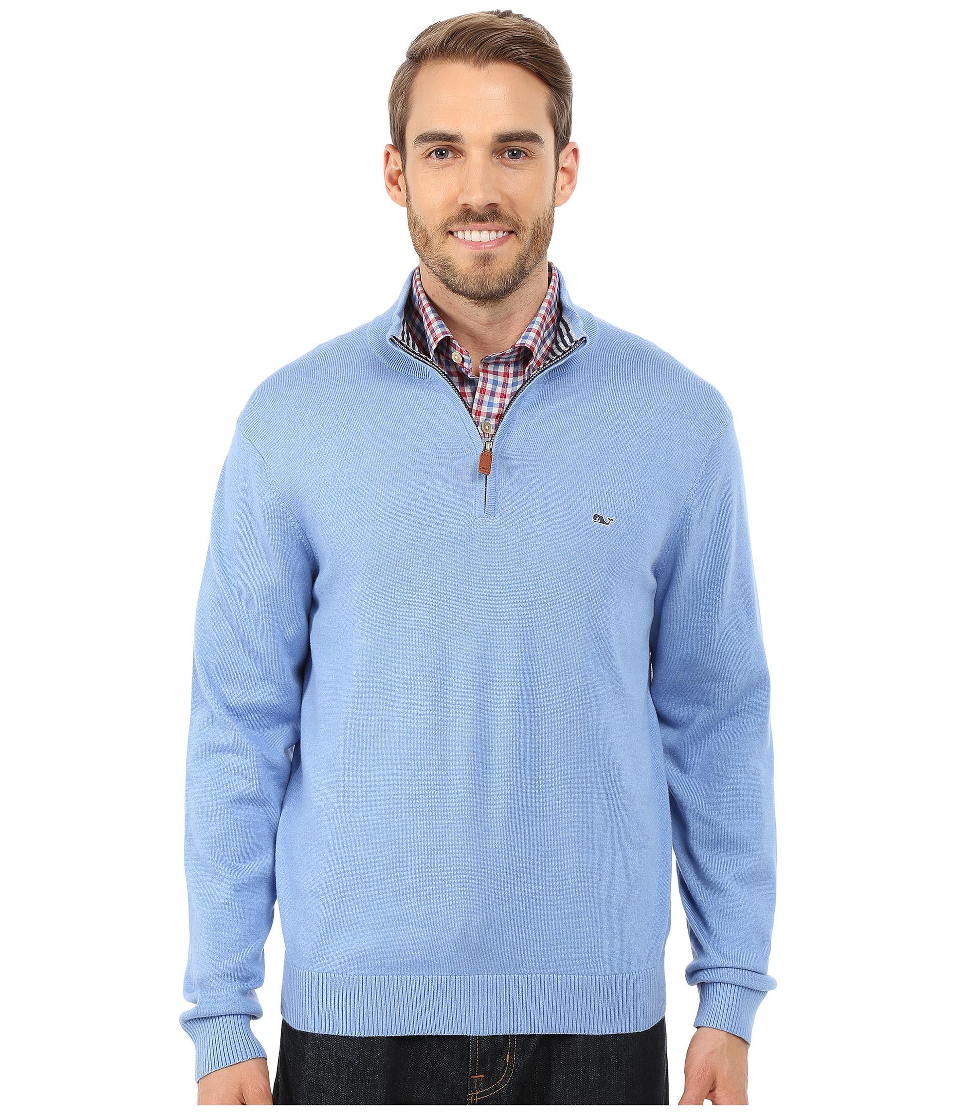 Vineyard vines Cotton 1/4 Zip Shirt in Blue for Men | Lyst