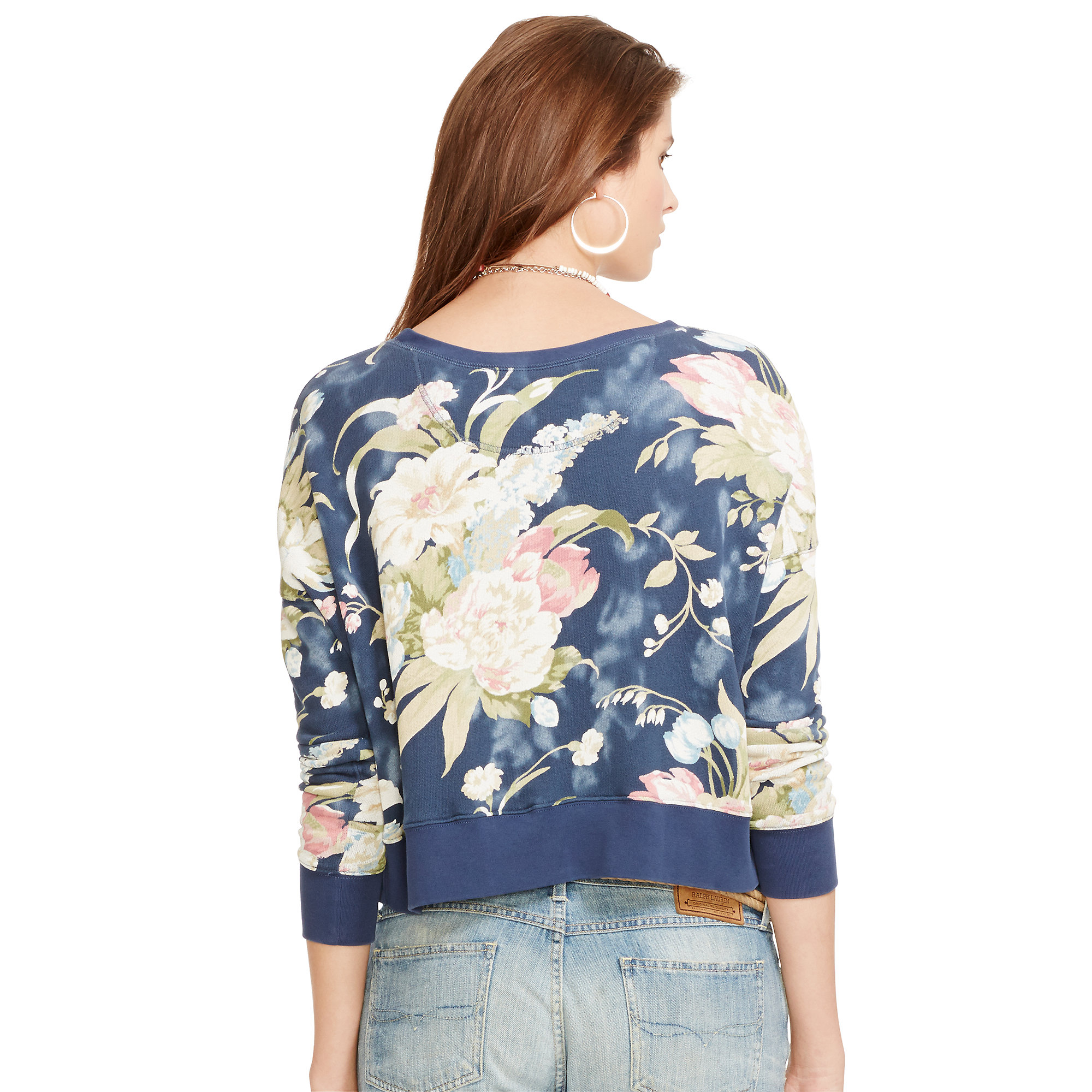 5844ebfb22a0 ... best price lyst polo ralph lauren floral french terry crewneck in blue  55cf3 394fe