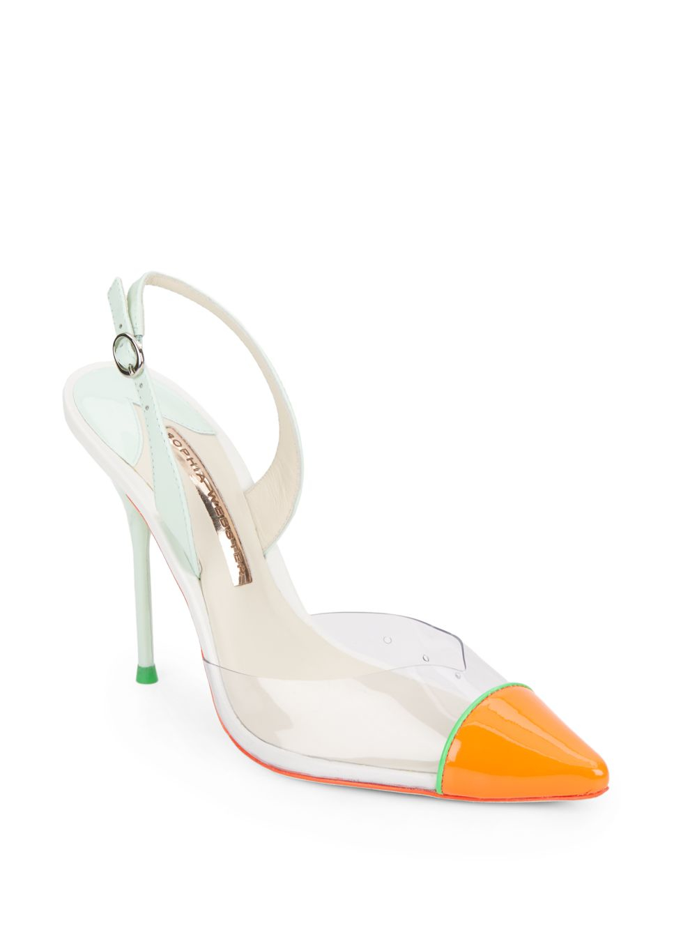 723d71a00285 Lyst - Sophia Webster Daria Patent Leather   Translucent Slingback ...