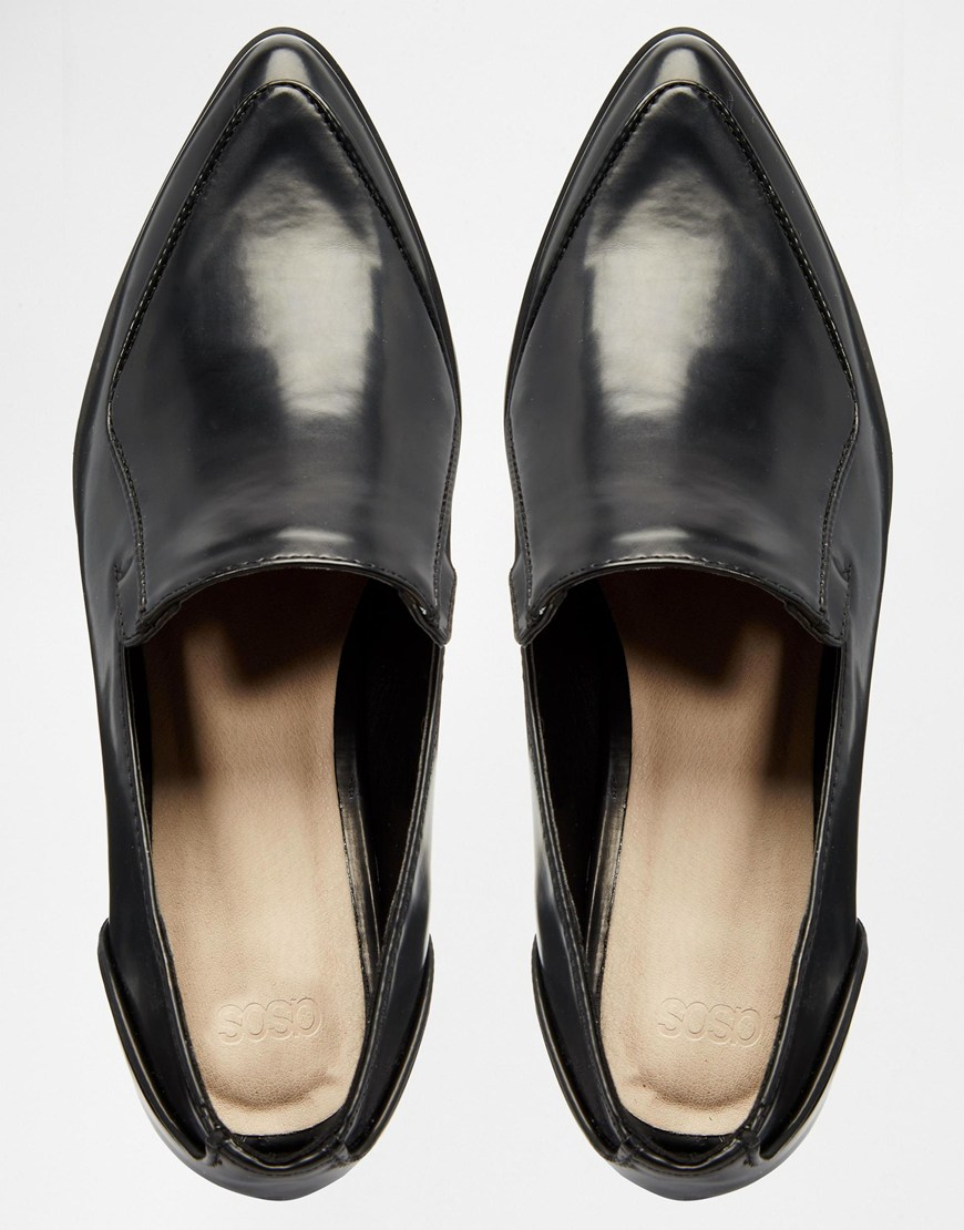 Lyst Asos Miles Pointed Flat Shoes In Black