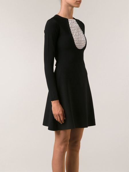 Valentino Lace Panel Dress In Black Lyst