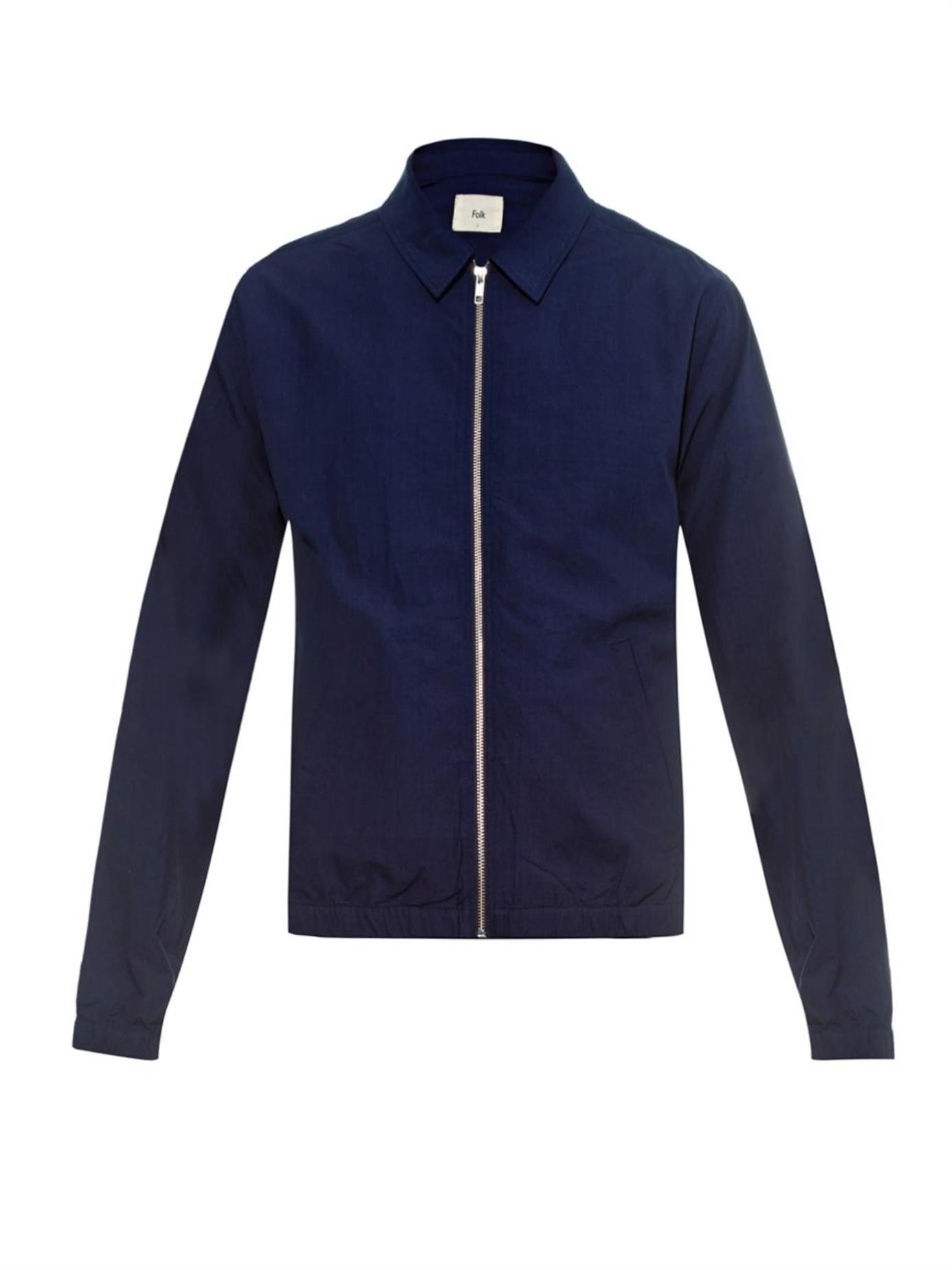 Folk Harrington Lightweight Cotton Jacket in Blue for Men | Lyst