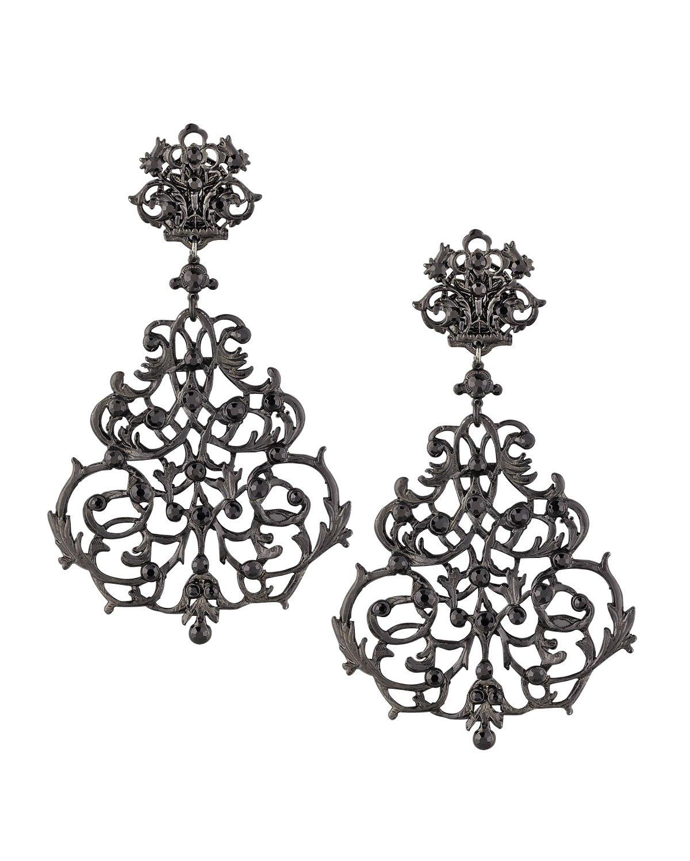Lyst jose maria barrera lace scroll chandelier earrings in black gallery arubaitofo Choice Image