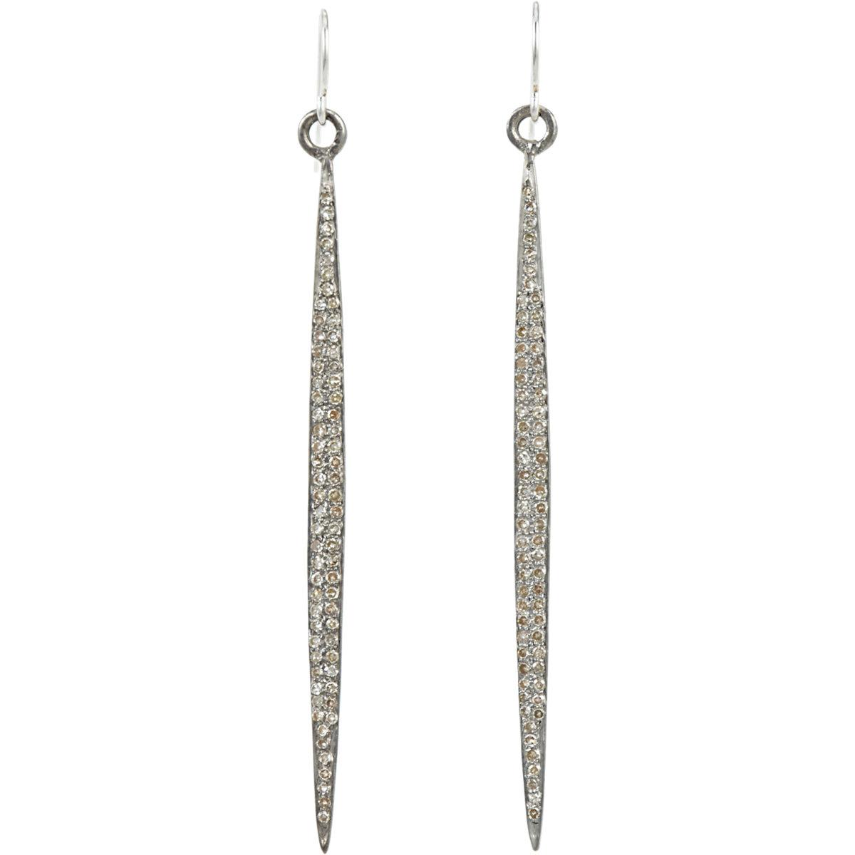 Feathered Soul Womens Pavé Diamond & Sterling Silver Short Wand Earrings OSxBIz