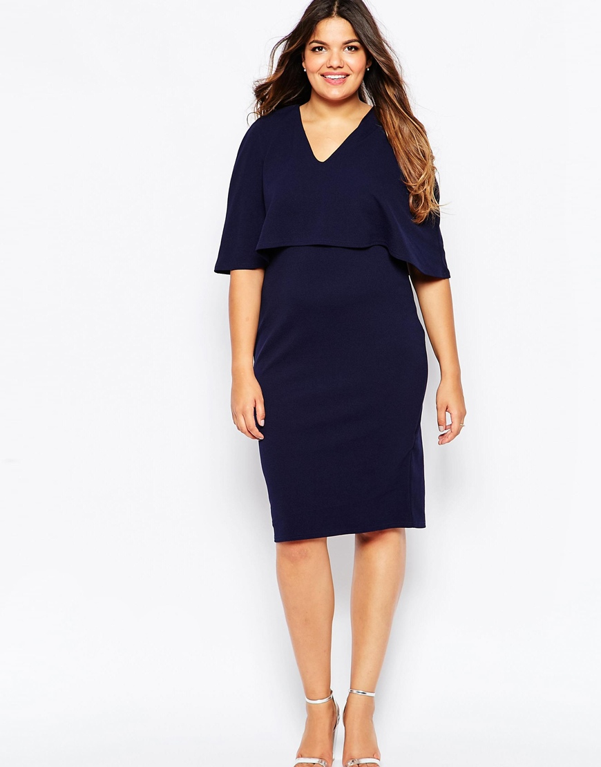 Lyst Club L Plus Size Midi Dress With Cape Overlay In Blue
