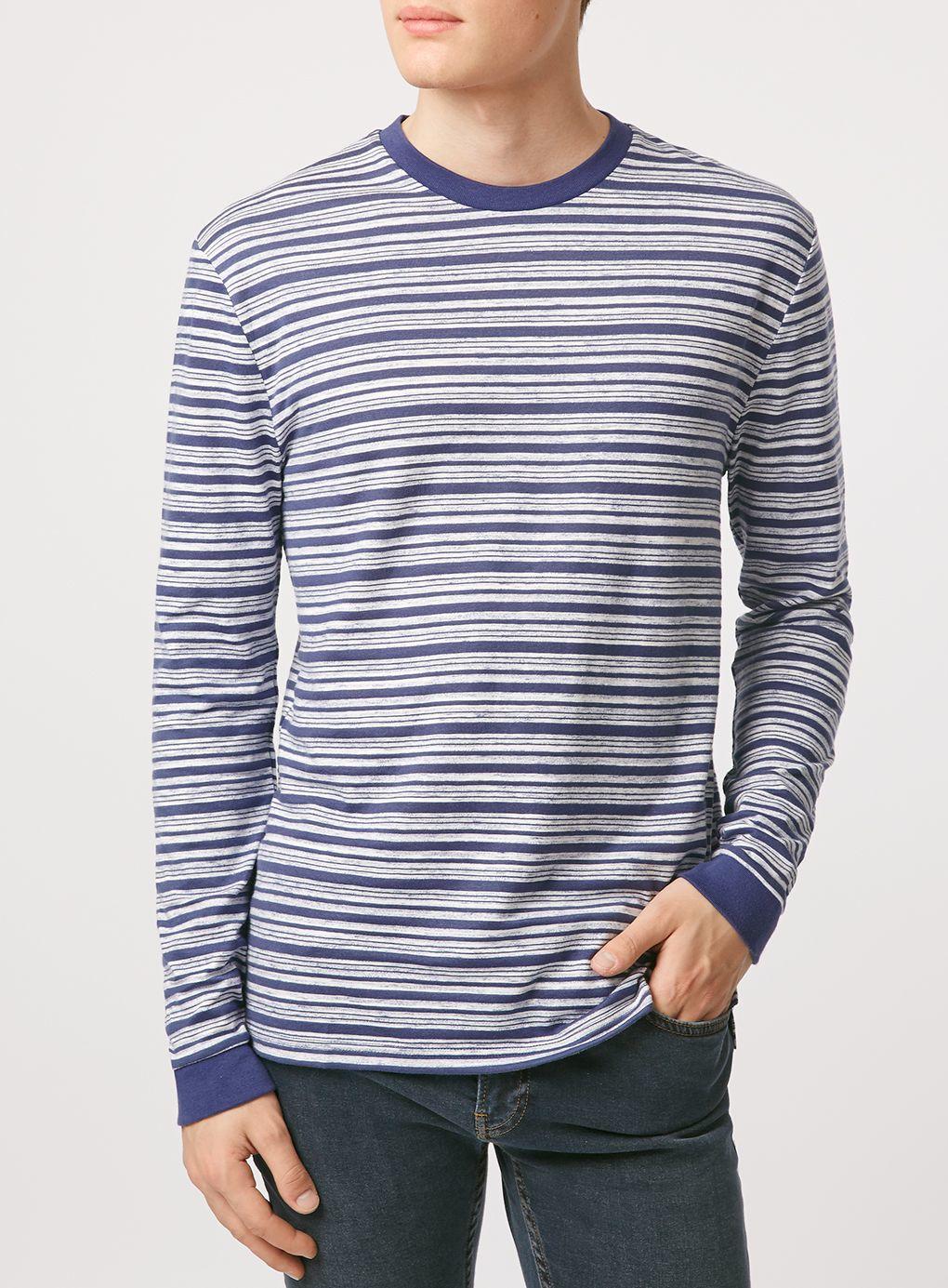 Topman long sleeve stripe crew neck t shirt in blue for for Blue and white striped long sleeve t shirt