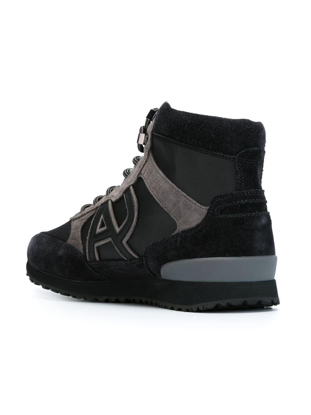 armani jeans high top sneaker with logo in gray for men lyst. Black Bedroom Furniture Sets. Home Design Ideas