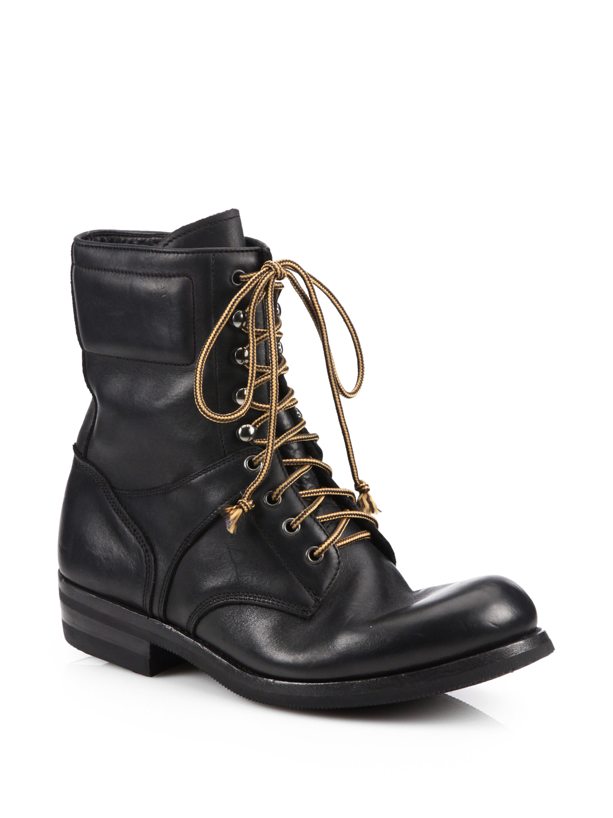 ralph gavin distressed leather lace up boots in