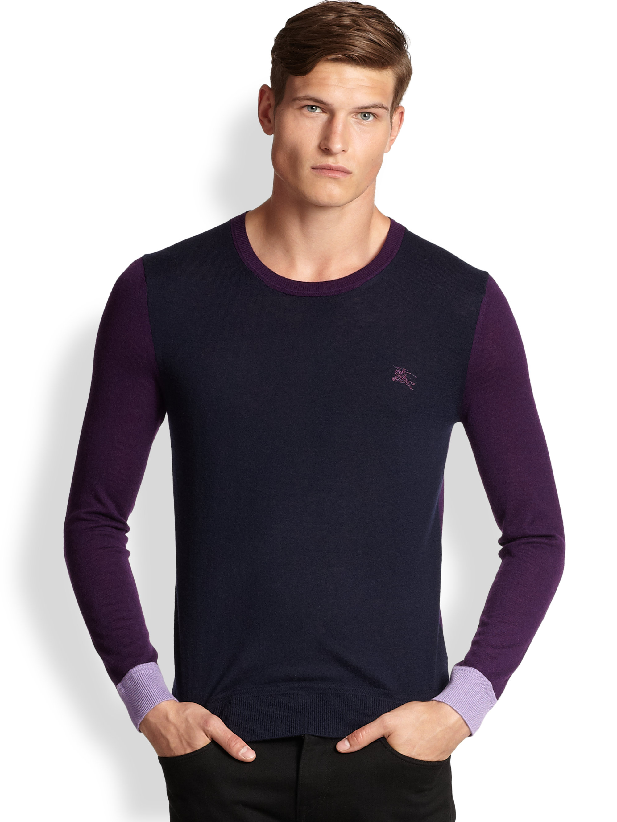Burberry brit Colorblock Cashmere Sweater in Blue for Men | Lyst
