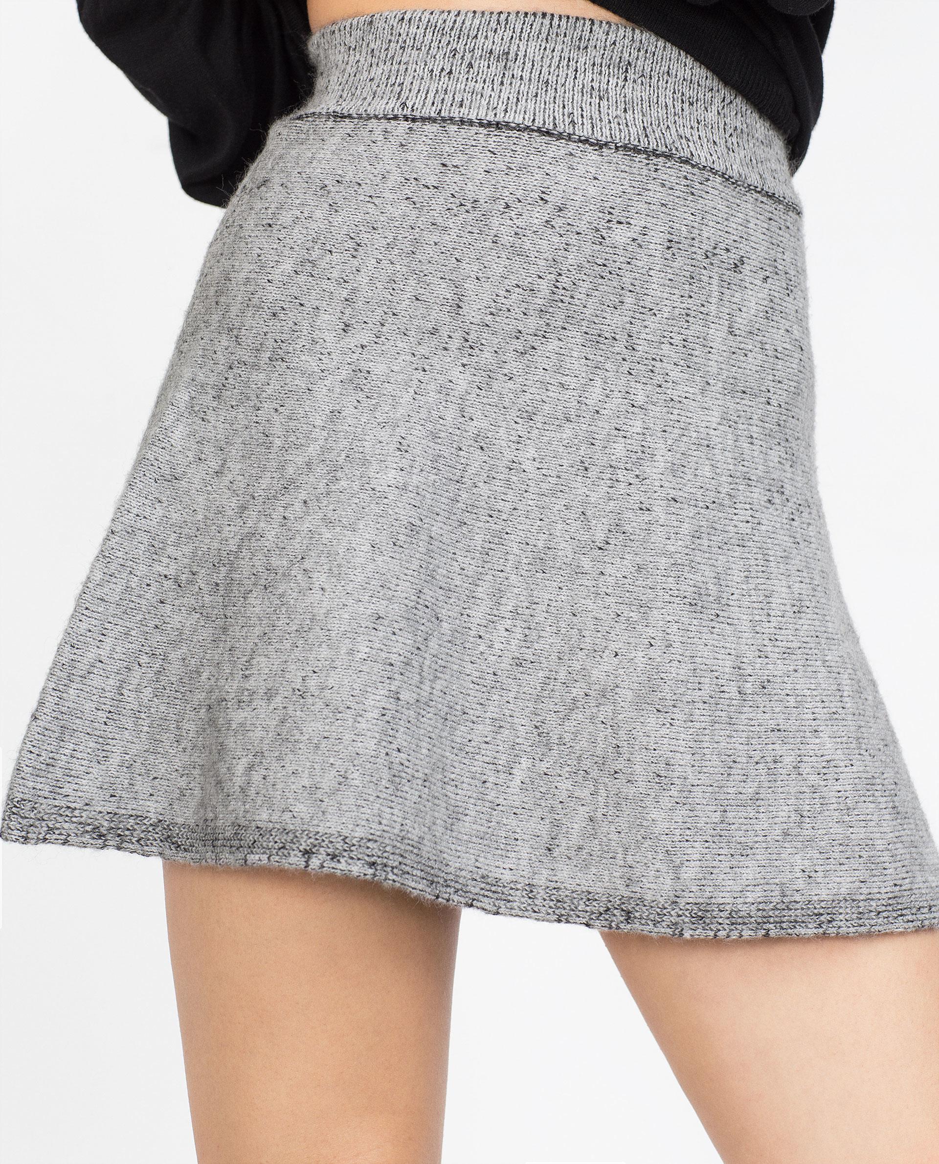 Zara Flared Miniskirt in Gray | Lyst
