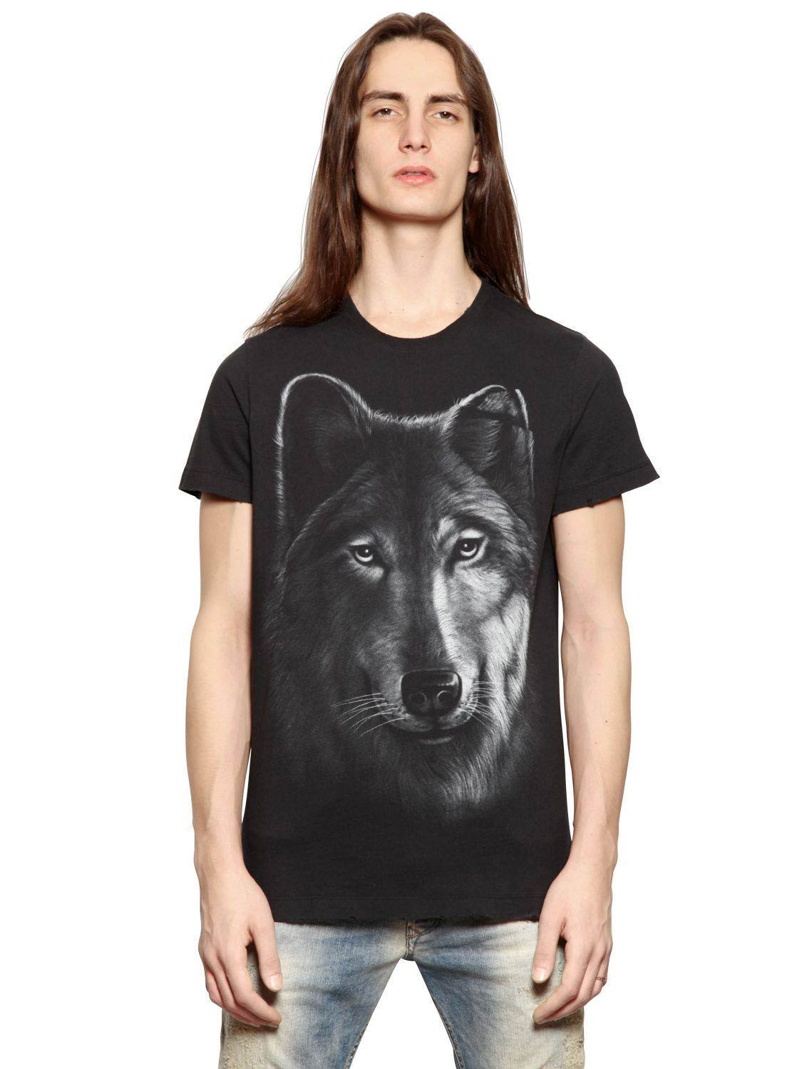 lyst diesel wolf print cotton t shirt in black for men. Black Bedroom Furniture Sets. Home Design Ideas
