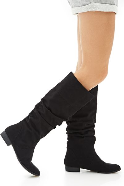 forever 21 knee high faux suede boots in black lyst
