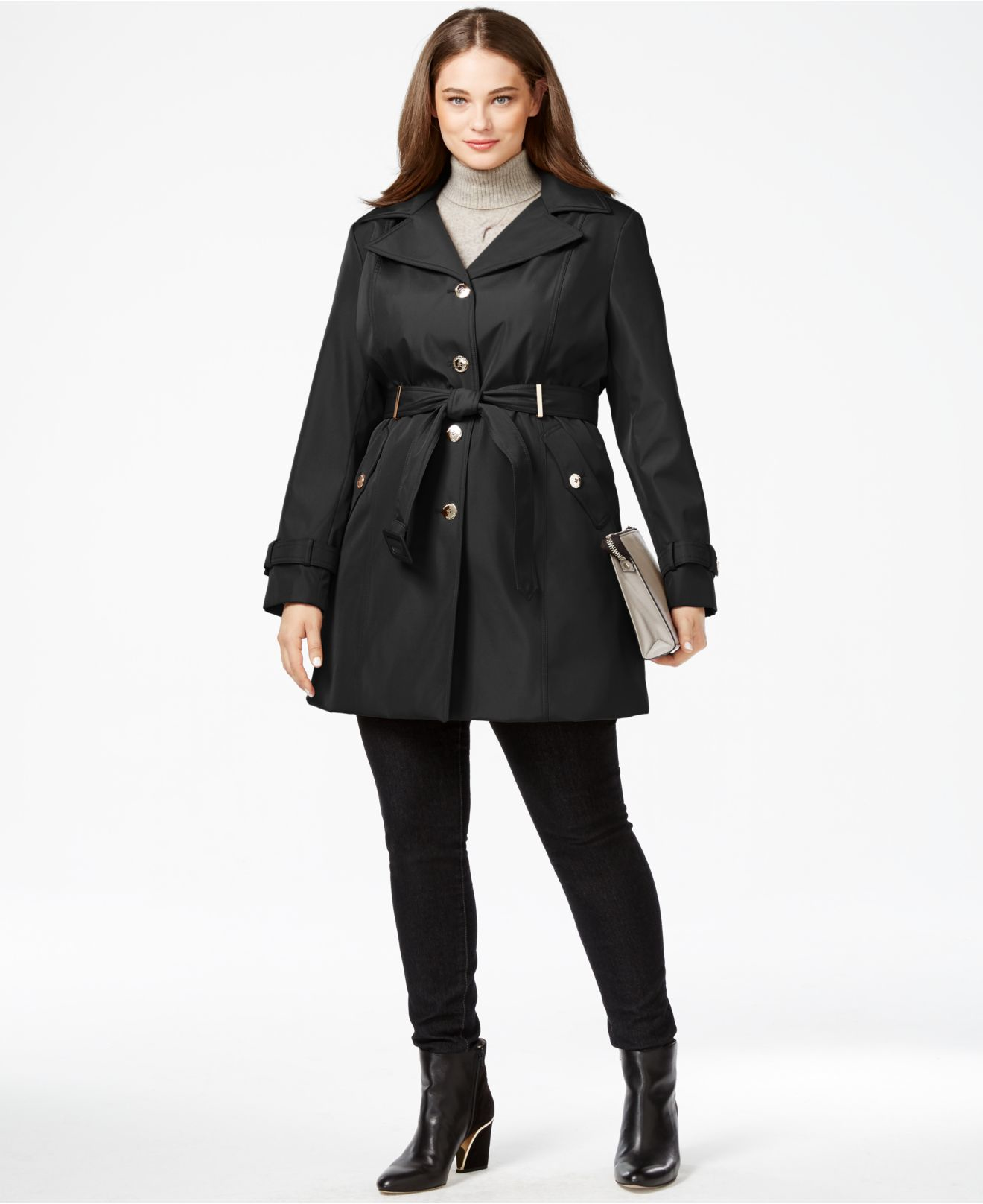 Lovely Casual Buttons Design Deep Blue Plus Size Trench