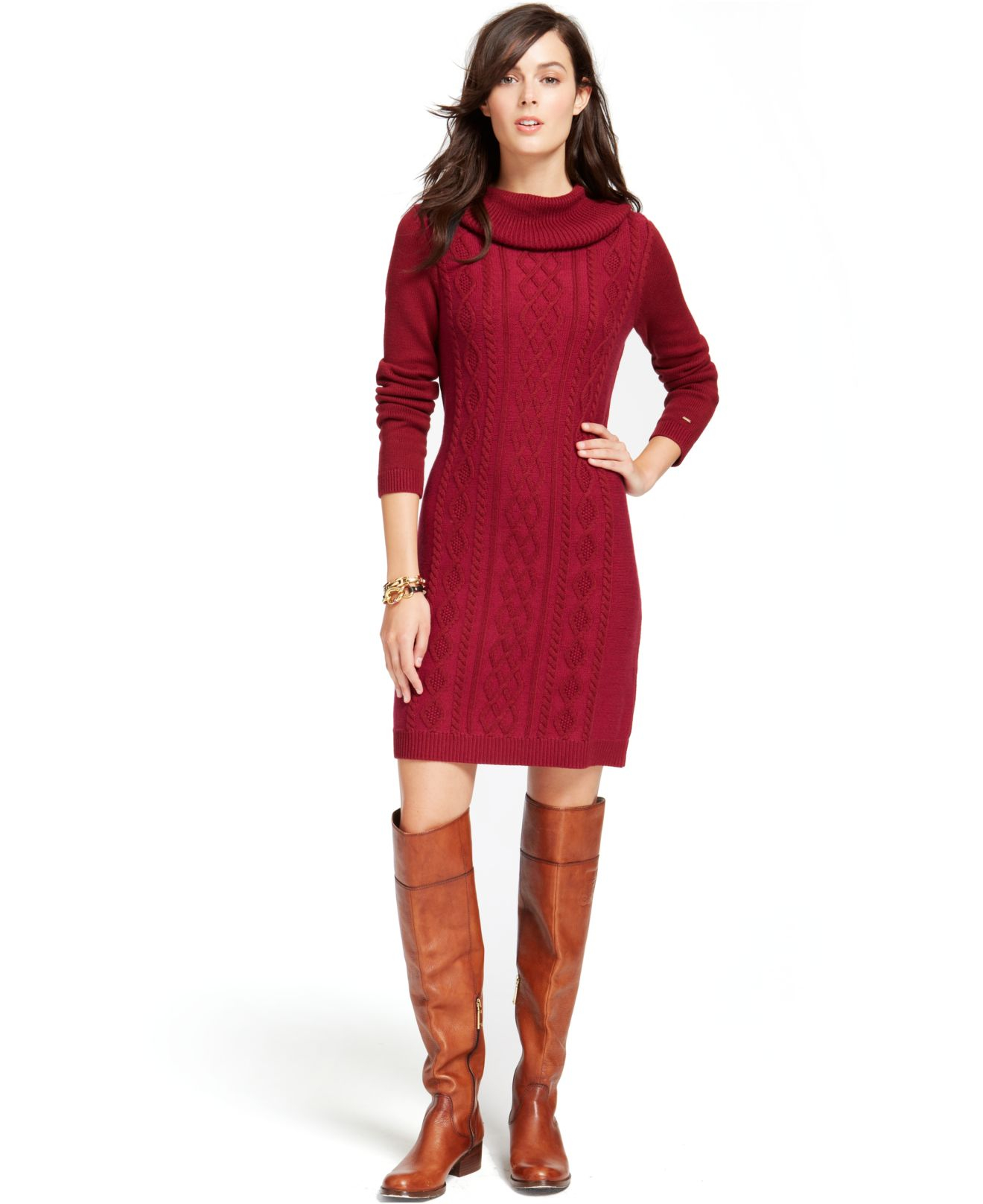 Tommy hilfiger Cable-Knit Cowl-Neck Sweaterdress in Red | Lyst