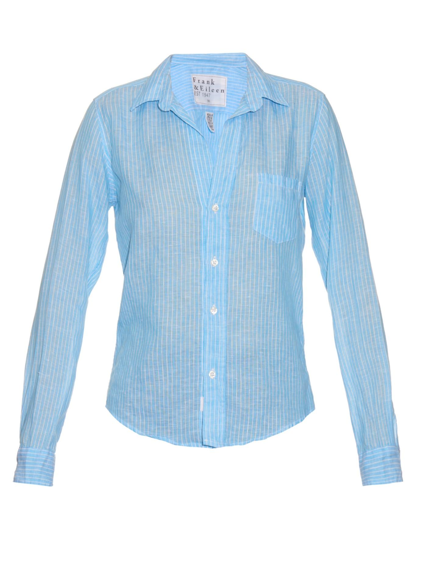 41b3e6e8 Frank & Eileen Barry Striped Linen Shirt in Blue - Lyst