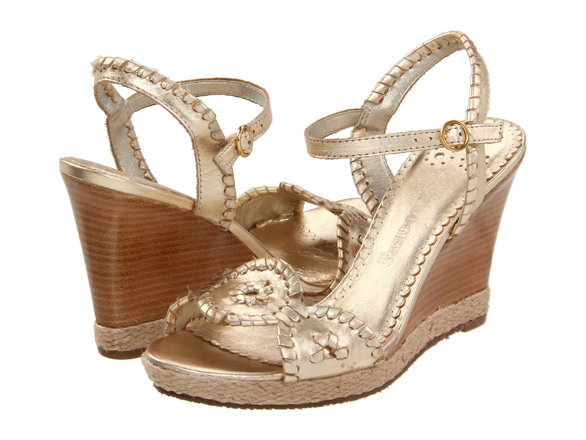 ef6735bab747 Lyst - Jack Rogers Clare Wedge Sandals in Metallic