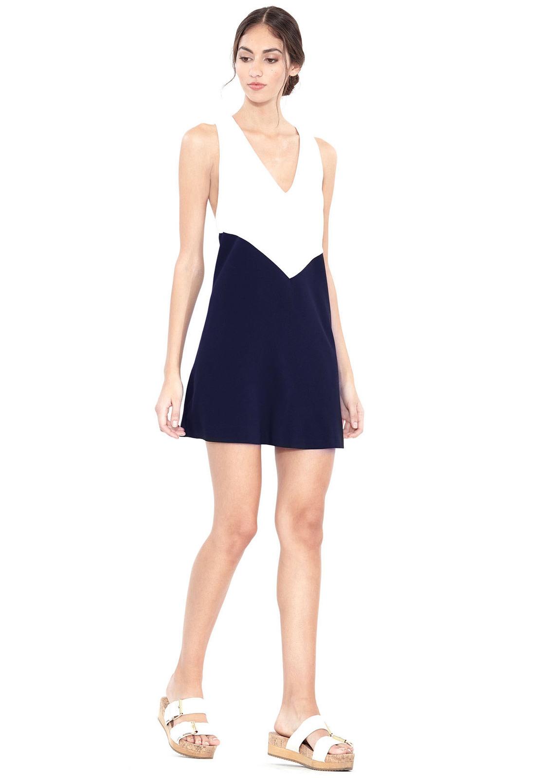 Colorblock White Dress