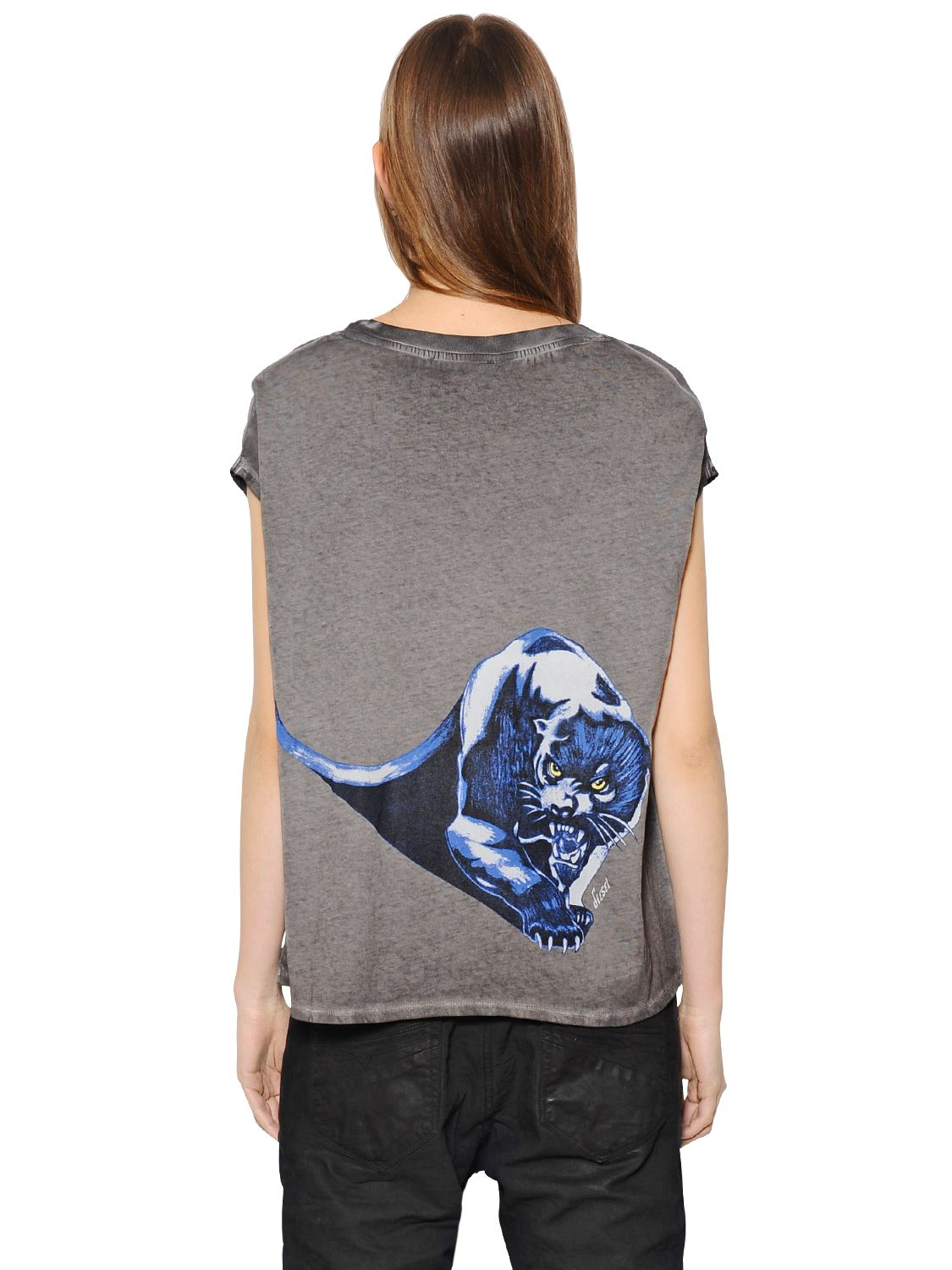Diesel Zola Printed Cotton Jersey T Shirt In Gray Lyst