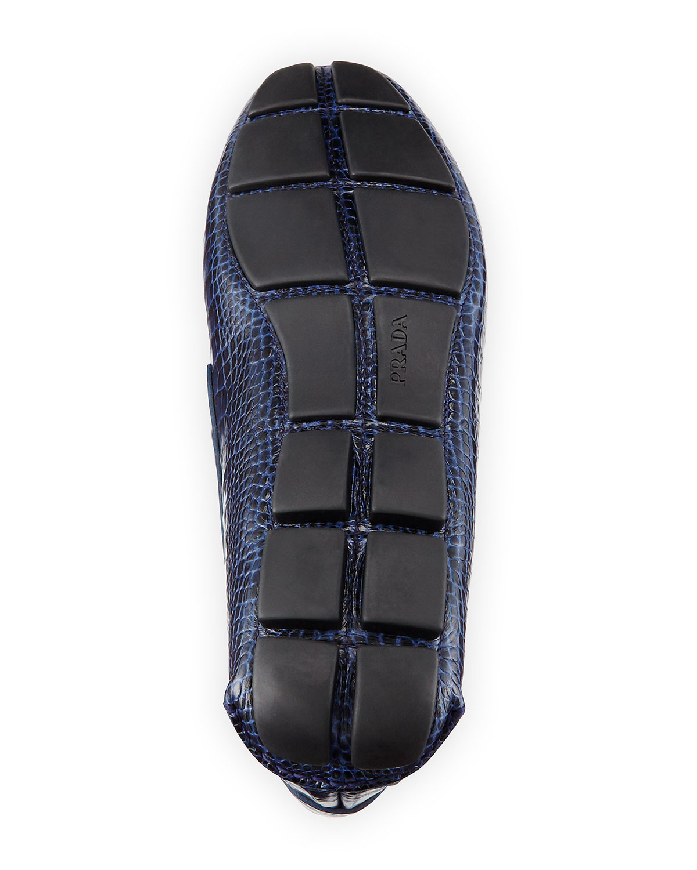 prada blue loafers