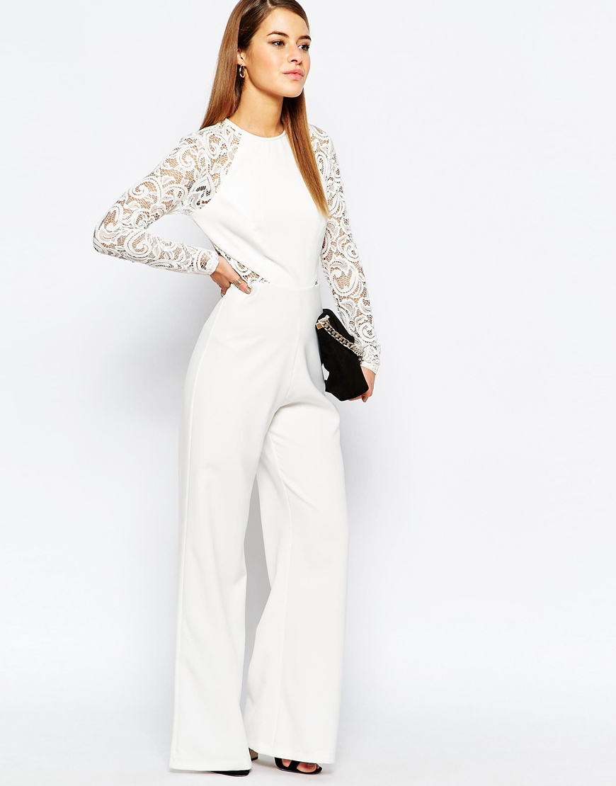cheap ever popular for sale John Zack White Lace Sleeve And Back Detail Jumpsuit