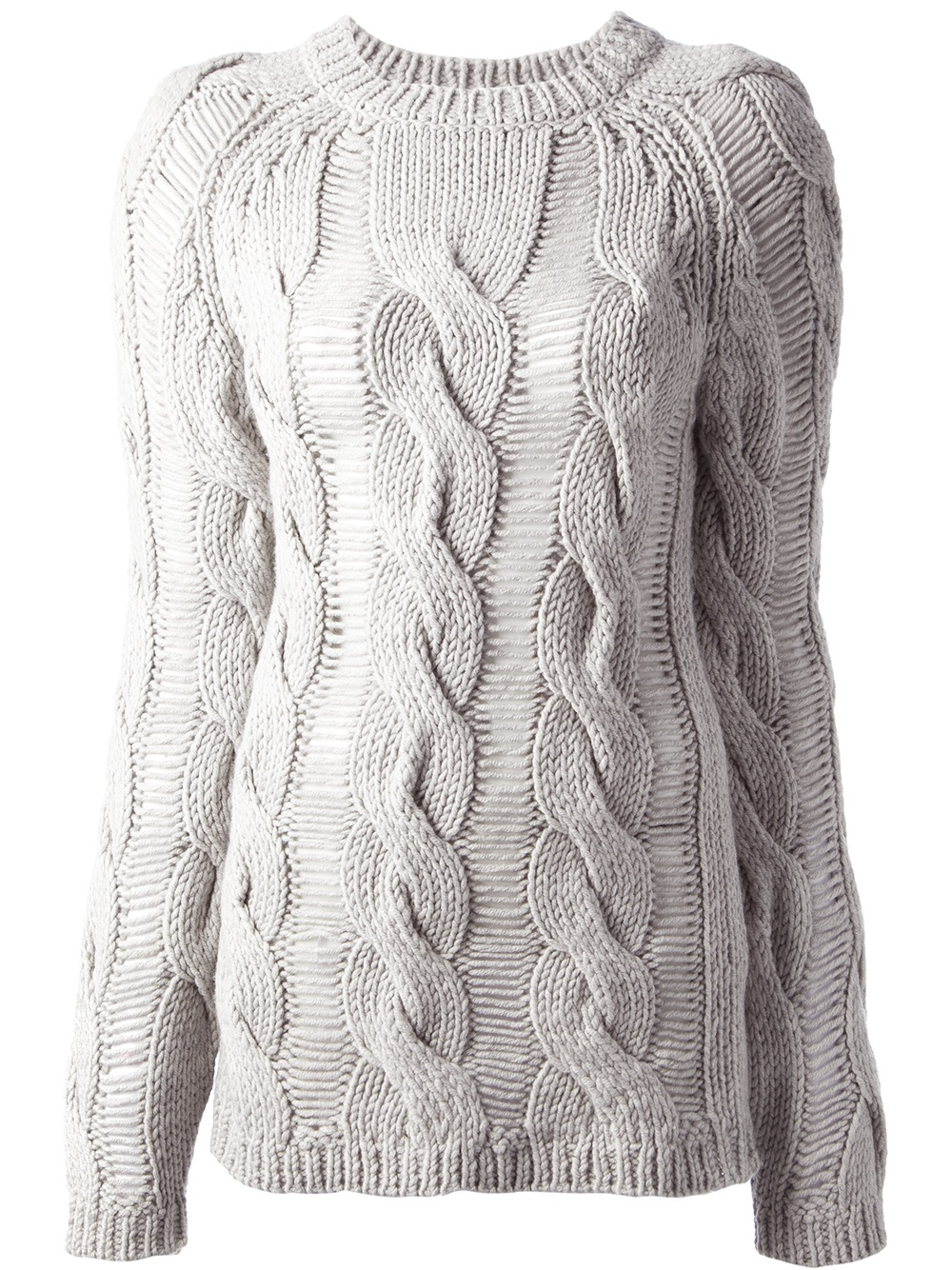 Carven Cable Knit Sweater in Gray | Lyst