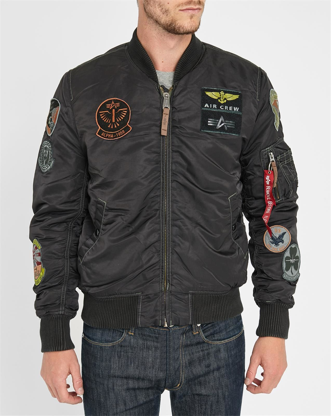 Alpha Industries Black Ma1 Original Patch Bomber Jacket In