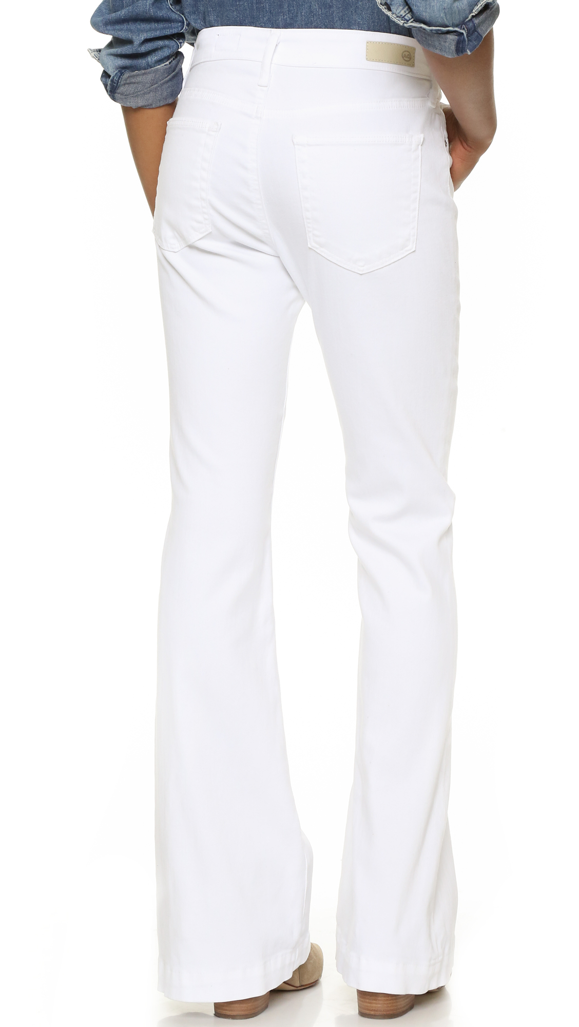Ag jeans The Petite Janis Flare Jeans in White | Lyst